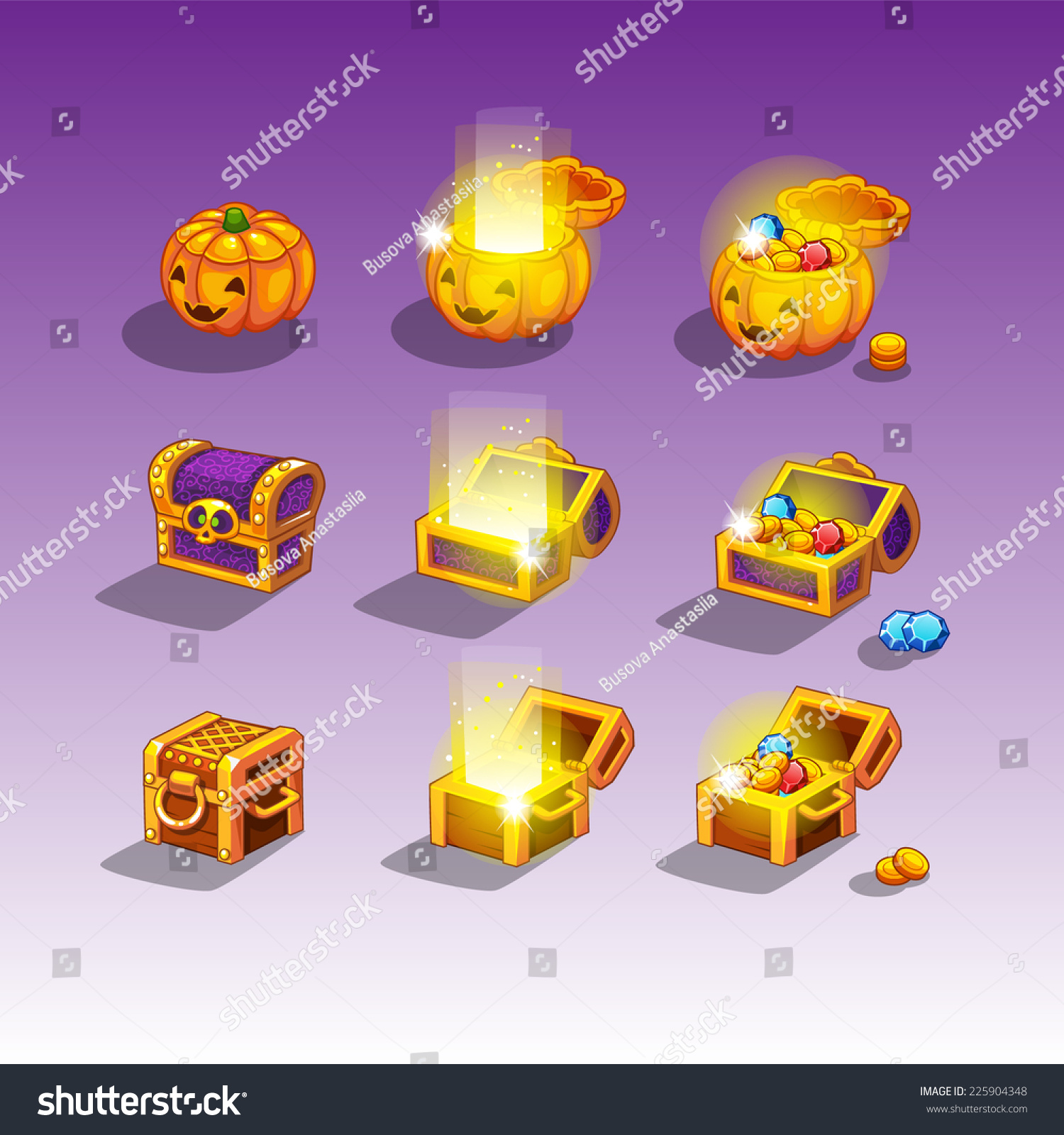 Chest Game Set Chest Set For Game Interface Stock Vector Illustration