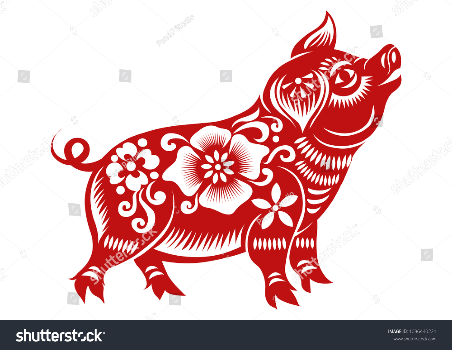 Chinese Dierenriem 2019 Chinese Zodiac Sign Year Pig Red Paper Stockvector Rechtenvrij