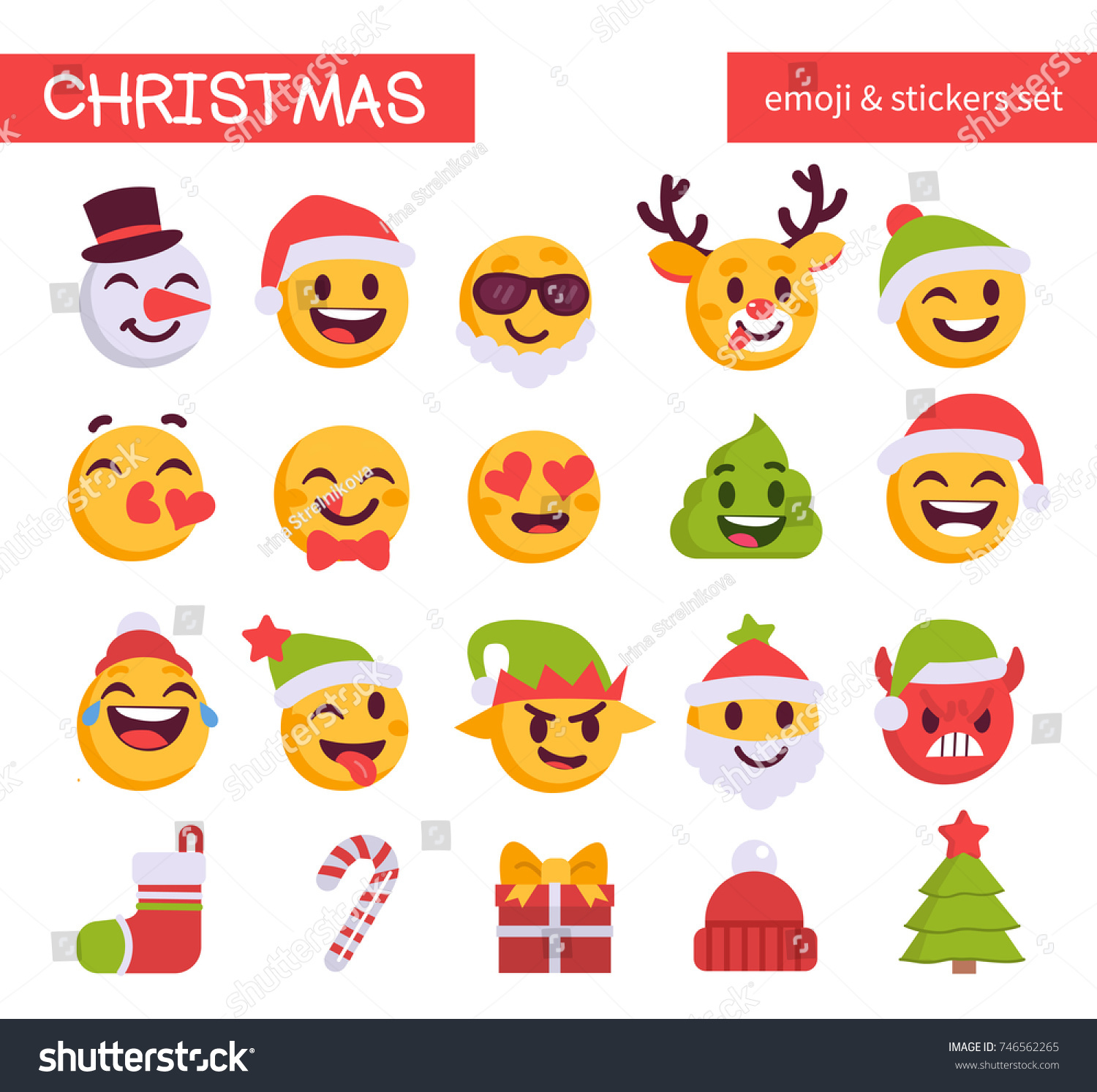 In The Mood Collection Kussens Christmas Emoji Set Holiday Emoticon Collection Stock Vektorgrafik