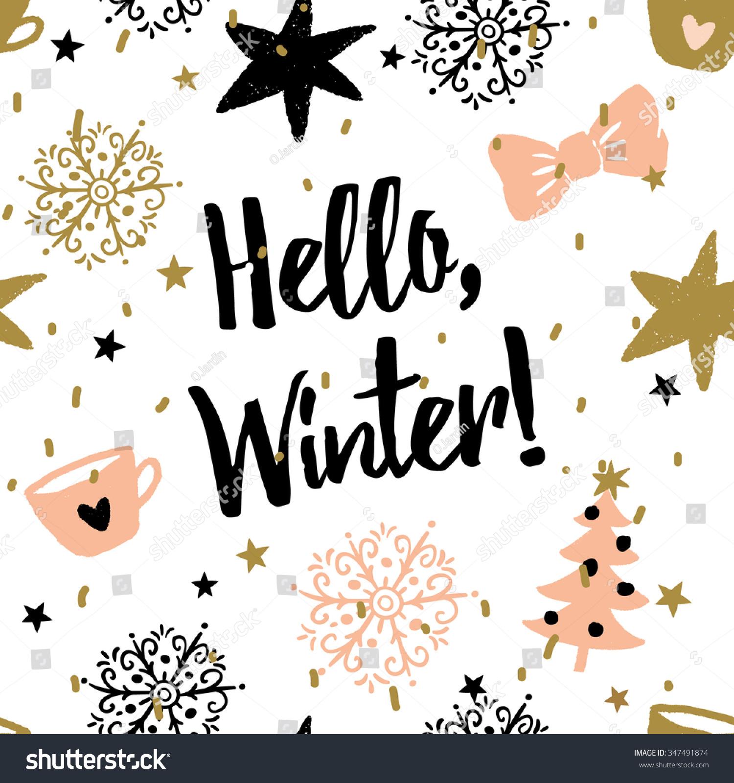 Cute Cupcake Wallpaper Christmas Illustration Message Hello Winter Vector Stock