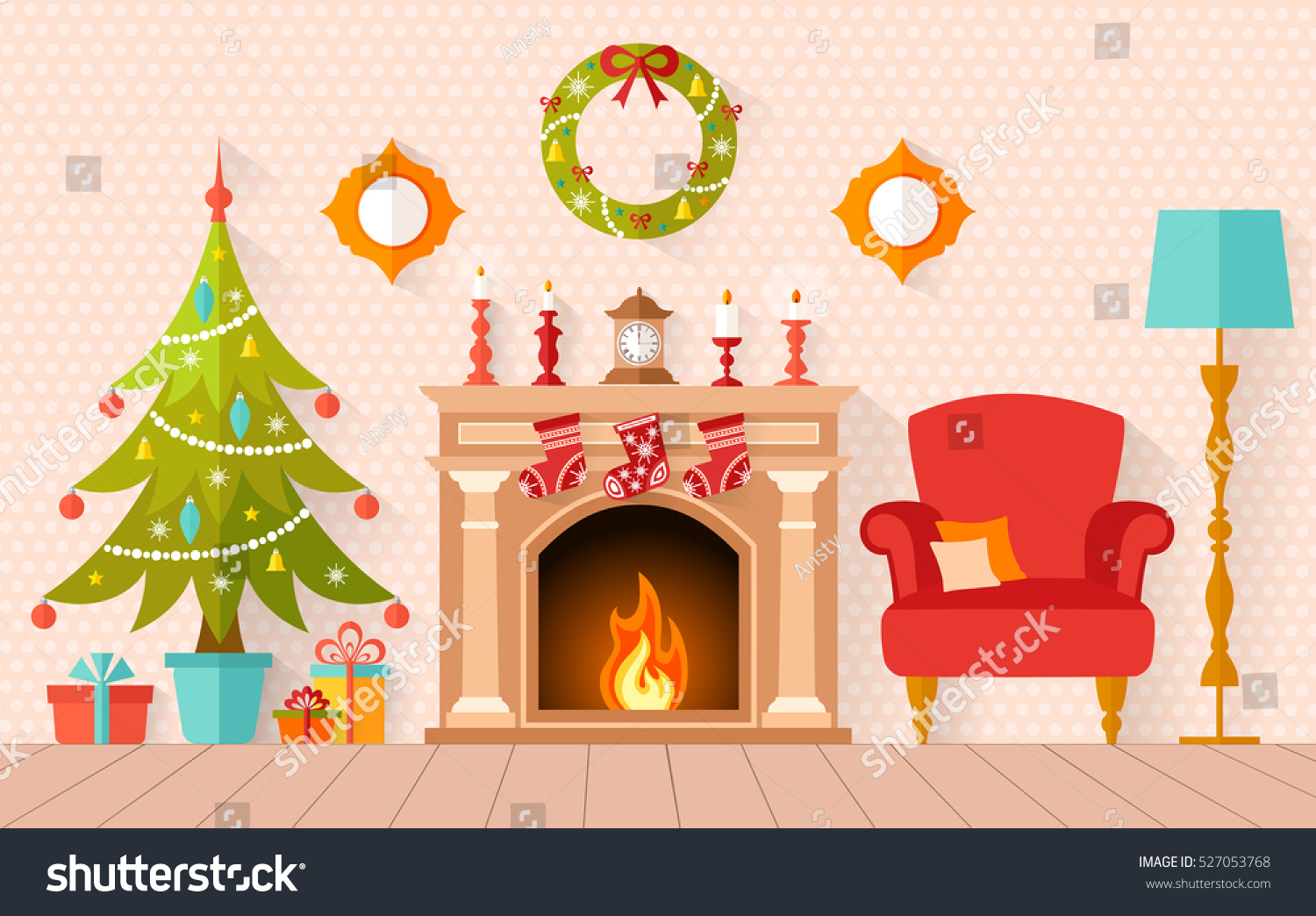 Fireplace Screens Tree Design Christmas Interior Design Christmas Tree Fireplace Stock