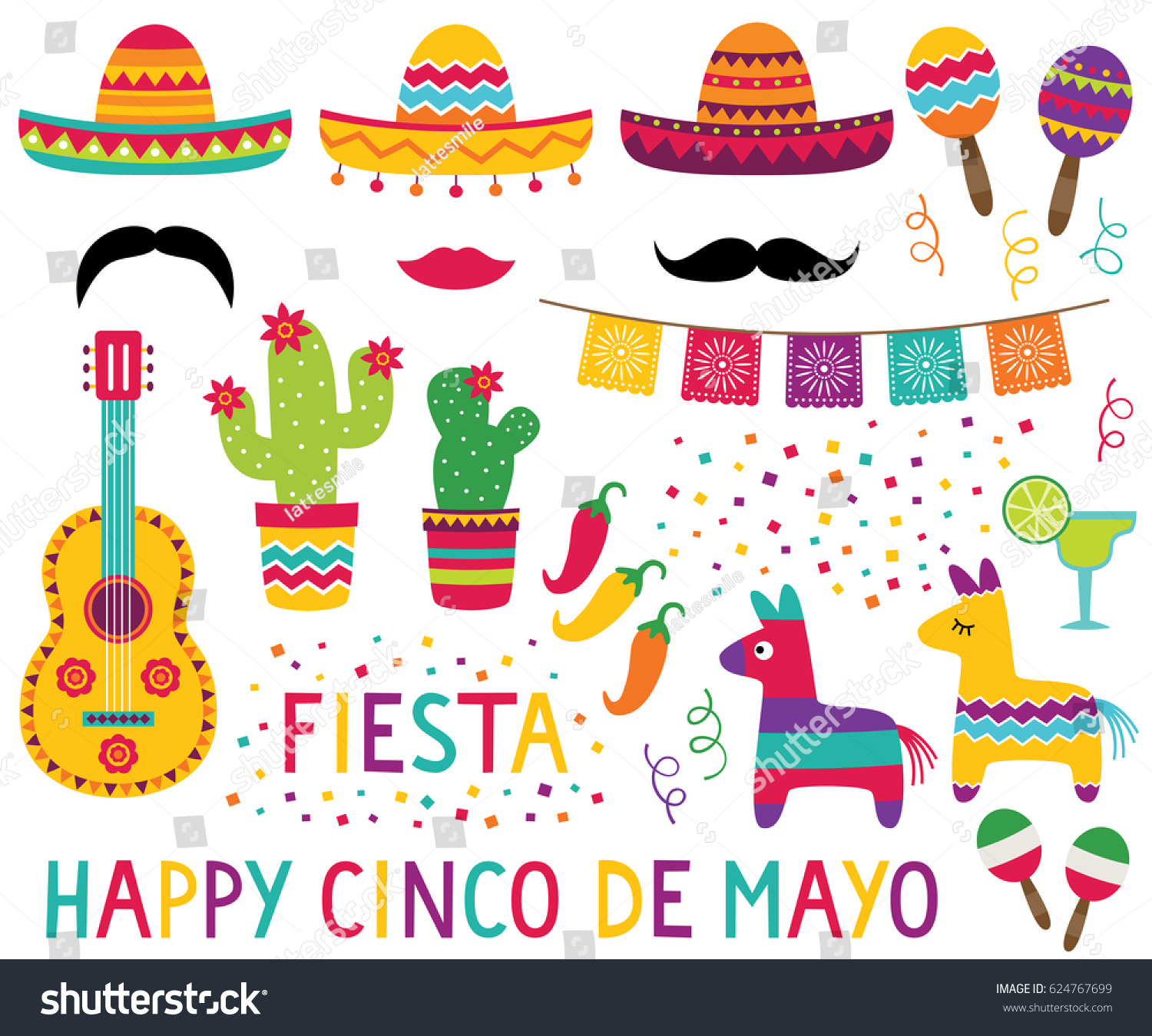 De Decoration Cinco De Mayo Vector Set Sombreros Stock Vector Royalty Free