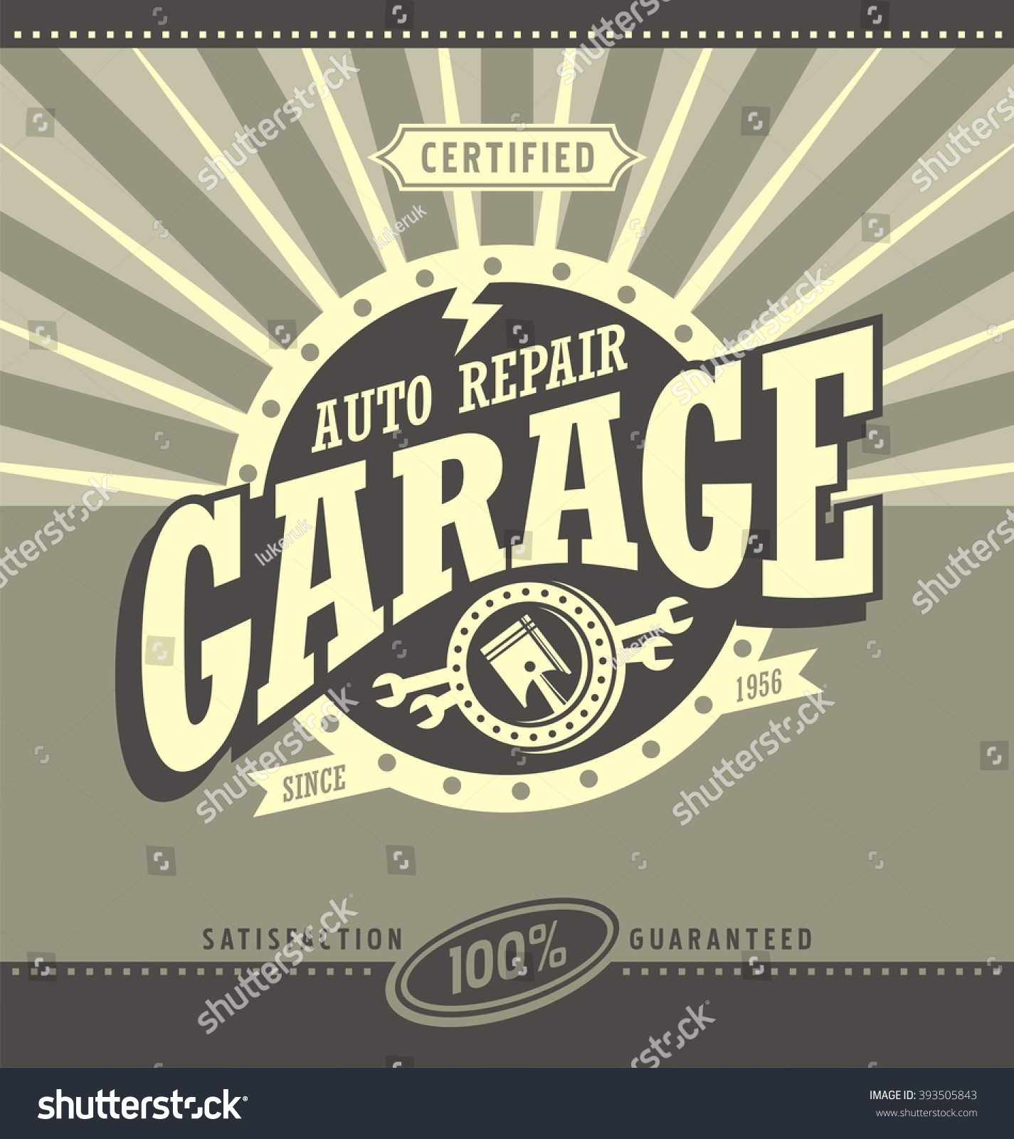 Garage Design Template Classic Garage Retro Banner Design Concept Stock Vector Royalty