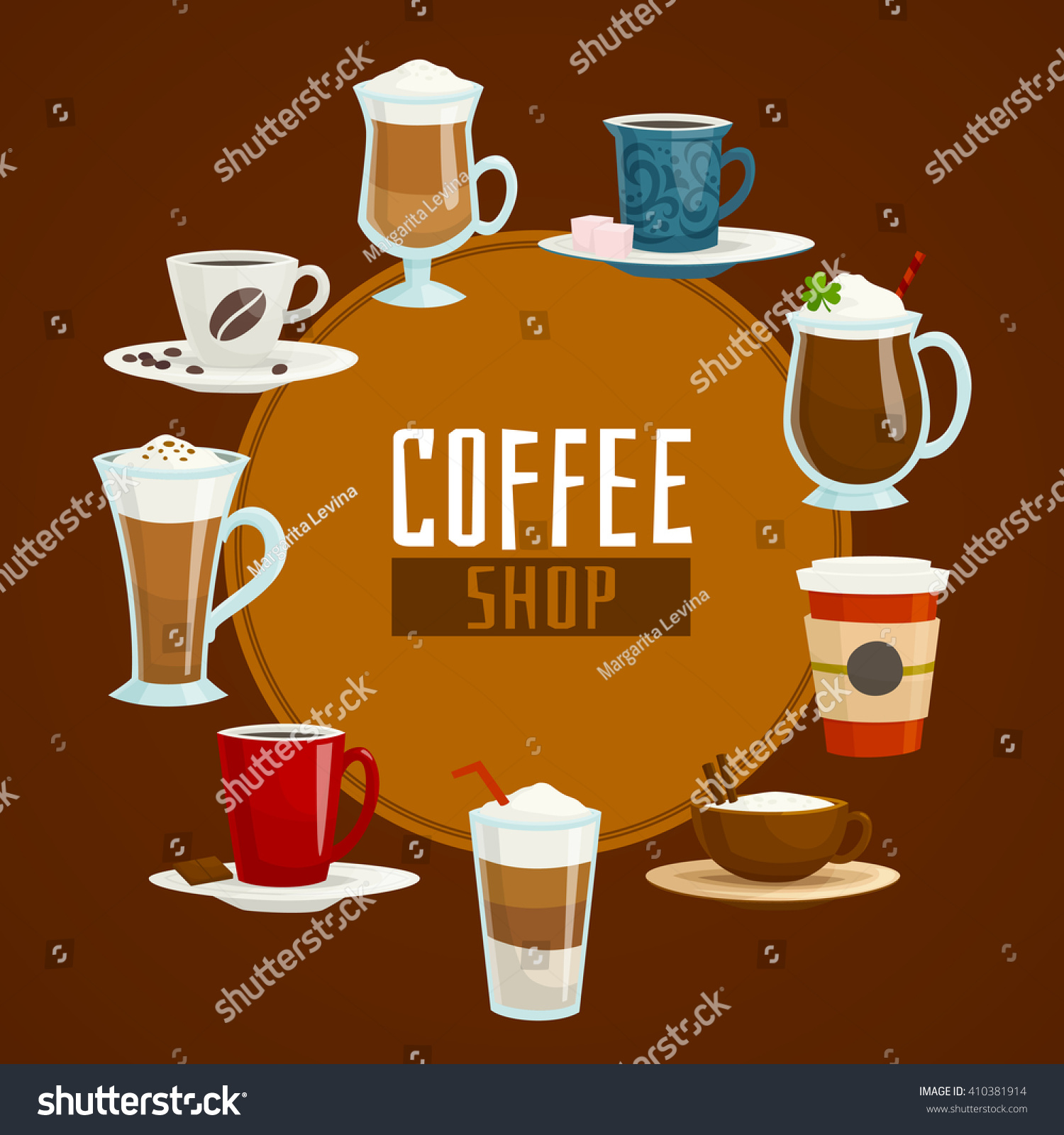 Americano Coffee To Go Coffee Shop Circle Concept Different Types Stock Vector