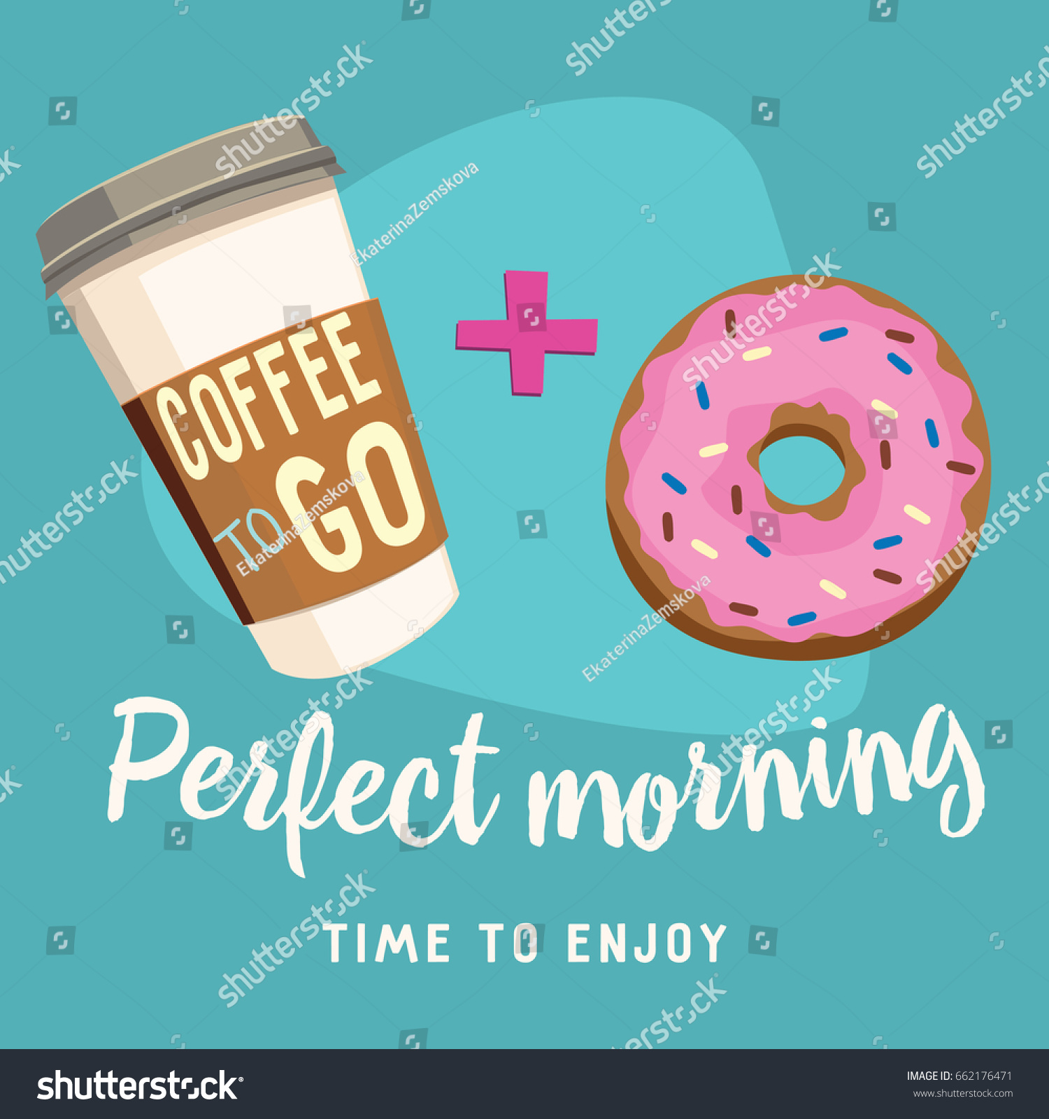 Americano Coffee To Go Coffee Go Donut Breakfast Poster Stock Vector 662176471