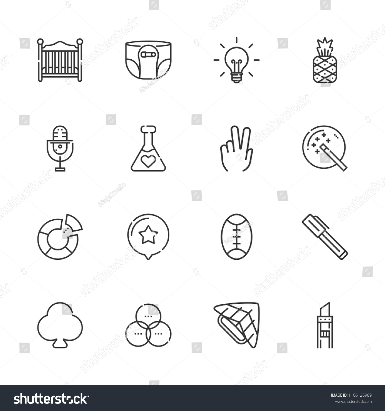 Baby Pineapple Pen Collection 16 Art Outline Icons Include Stock Vector