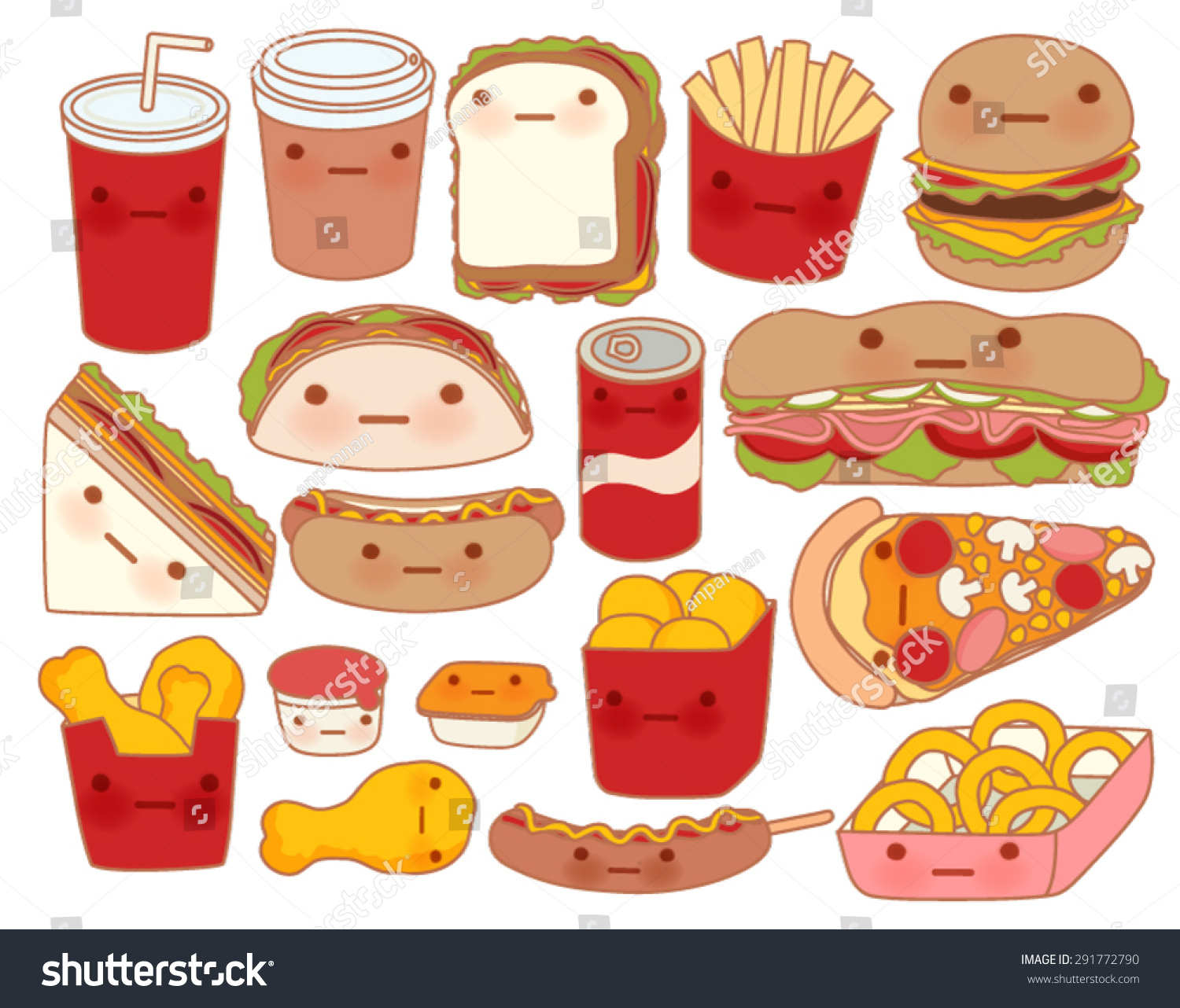 Cute Chicken Nugget Wallpaper Collection Lovely Baby Food Doodle Icon Stock Vector