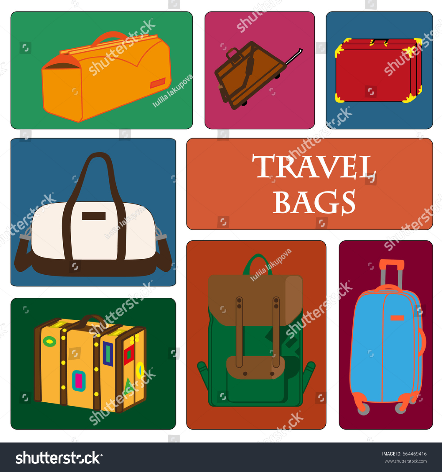 Bag Shops Collection Travel Bags Banner Poster Travel Stock Vector Royalty