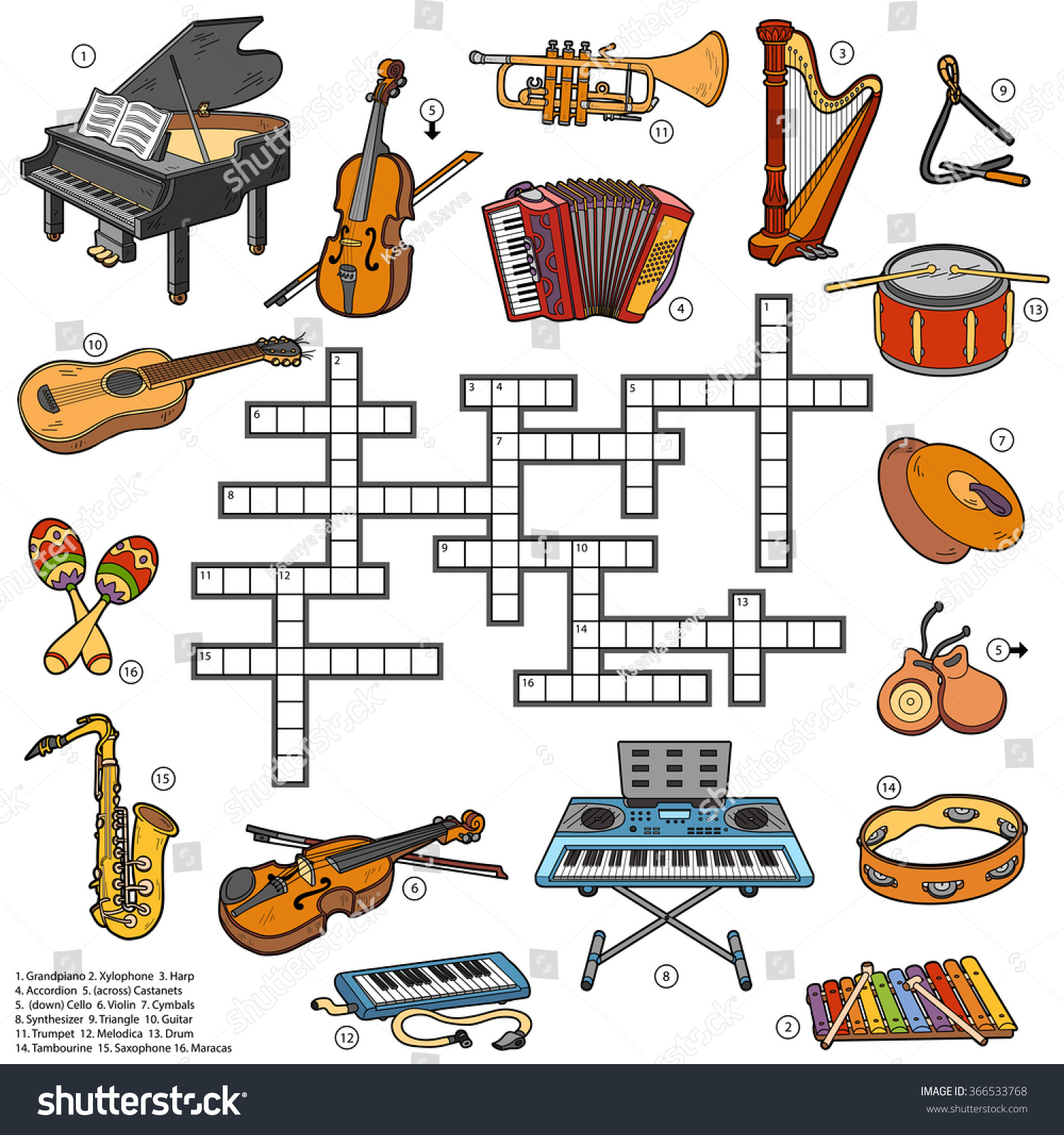 Color crossword education game for children about music instruments