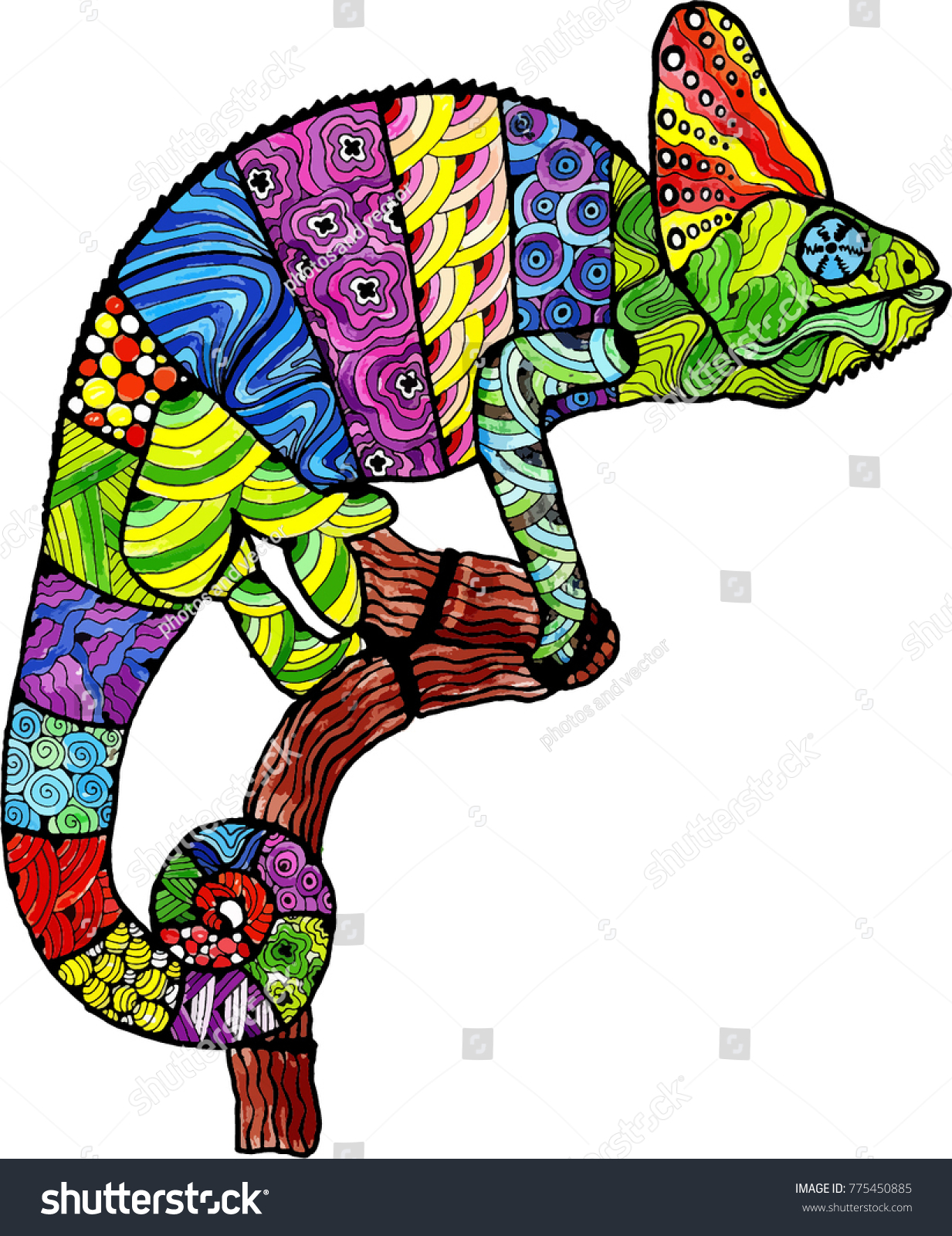 Chameleon Style Colorful Chameleon Style Zentangle Stock Vector Royalty Free