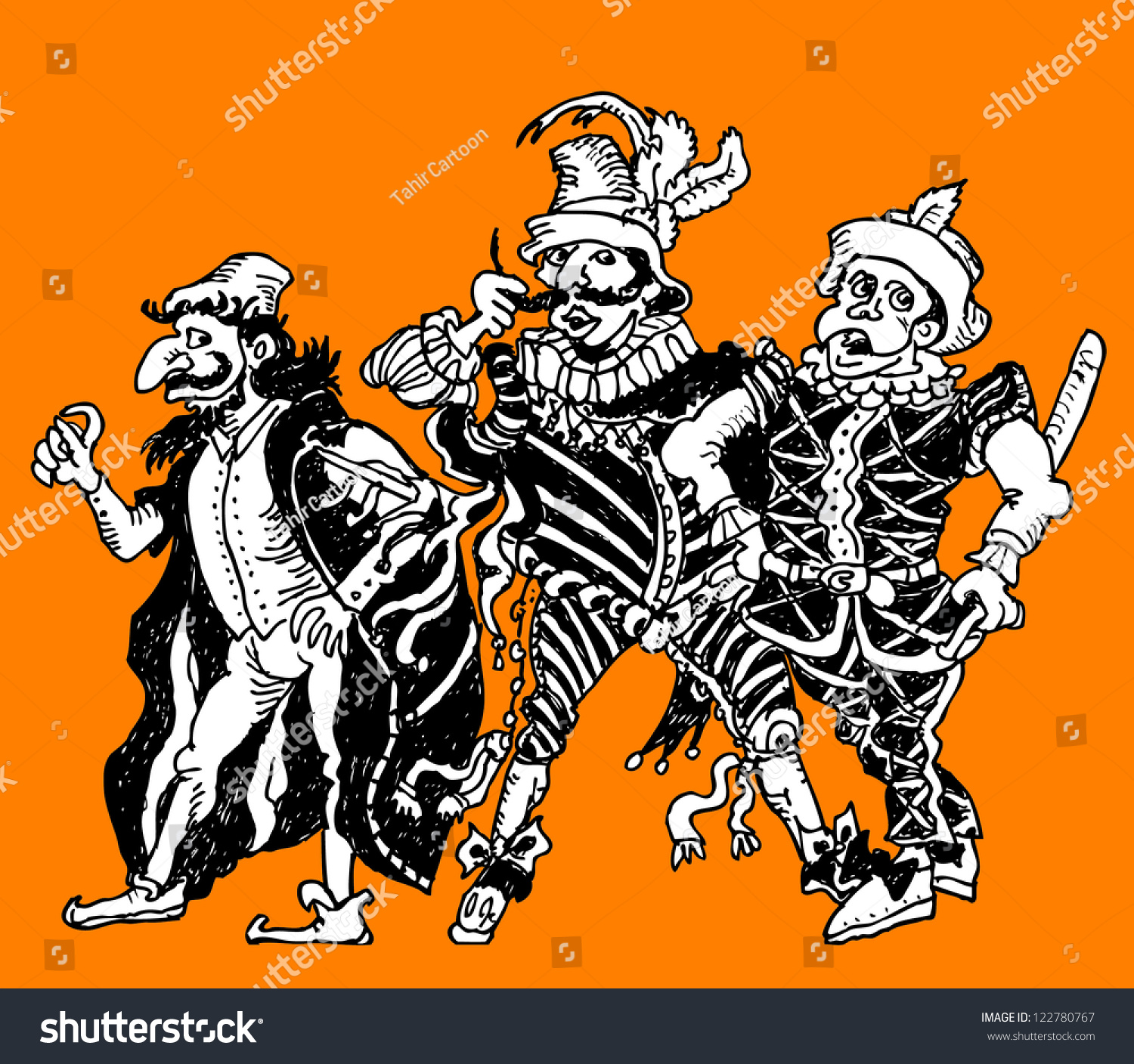 Commedia Dell'arte Word Meaning Commedia Dell Arte Characters Stock Vector Royalty Free