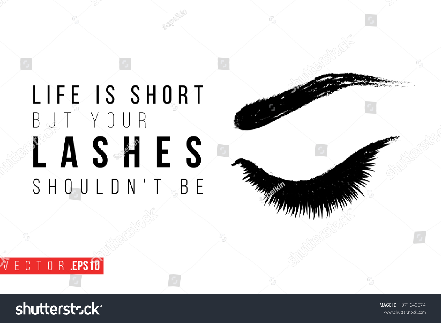 Salon But Promo Contrast Female Closed Eye Text Label Stock Vector Royalty Free