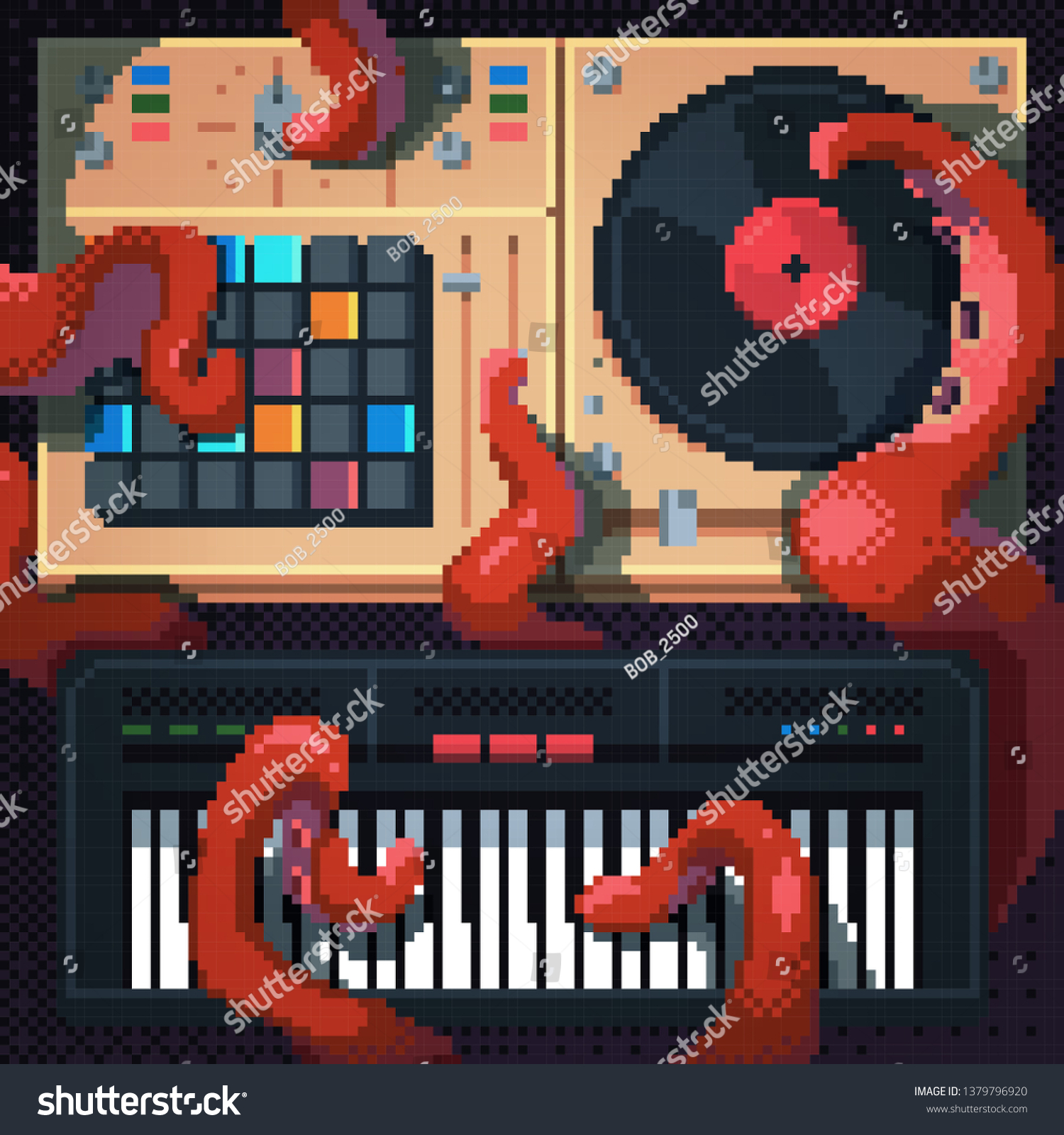 Cool Octopus Art Cool Dj Octopus Pixel Art Style Stock Vector Royalty Free