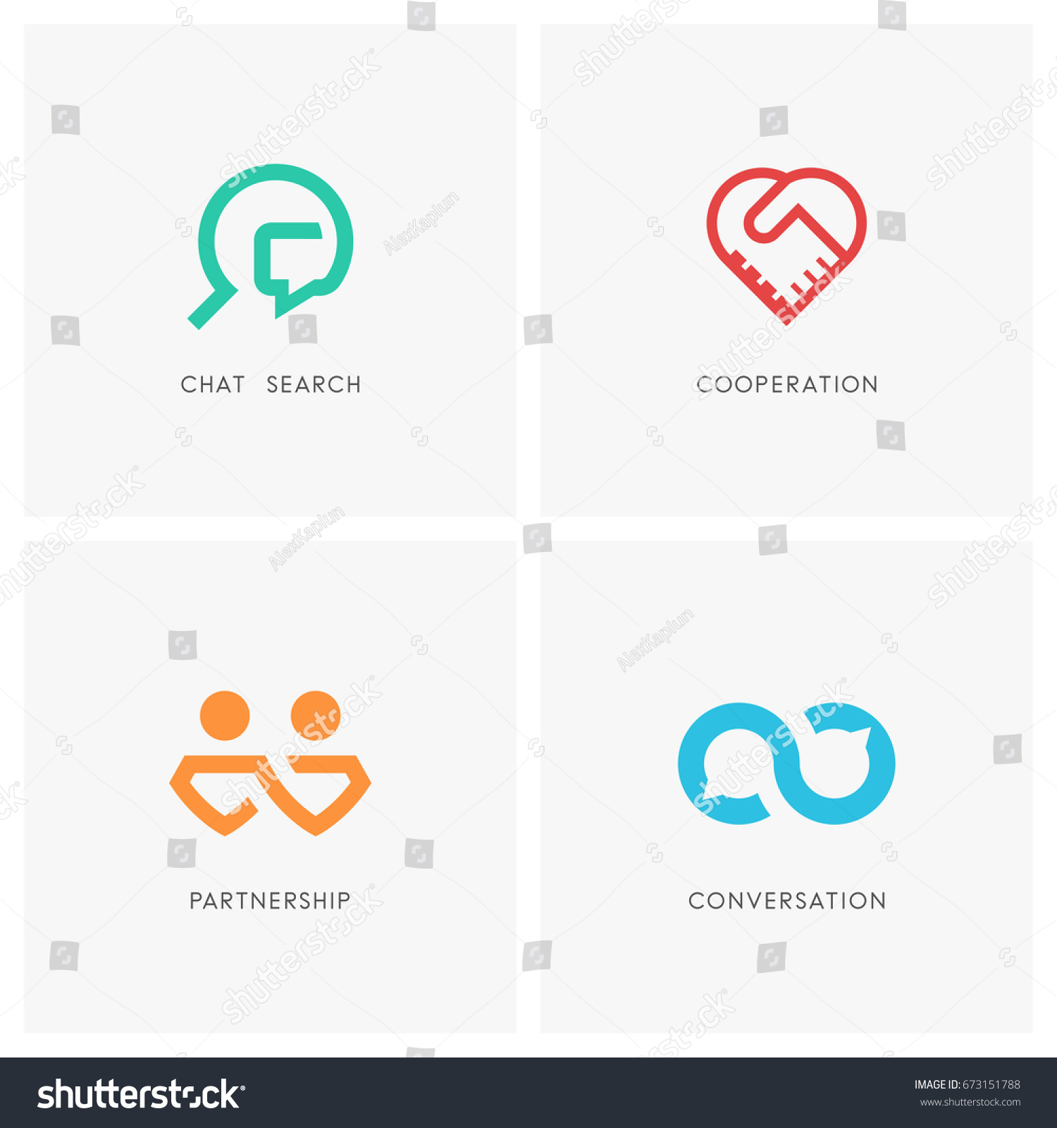 Gratis Juridisch Advies Chat Cooperation Logo Set Chat Search Handshake Stockvector 673151788