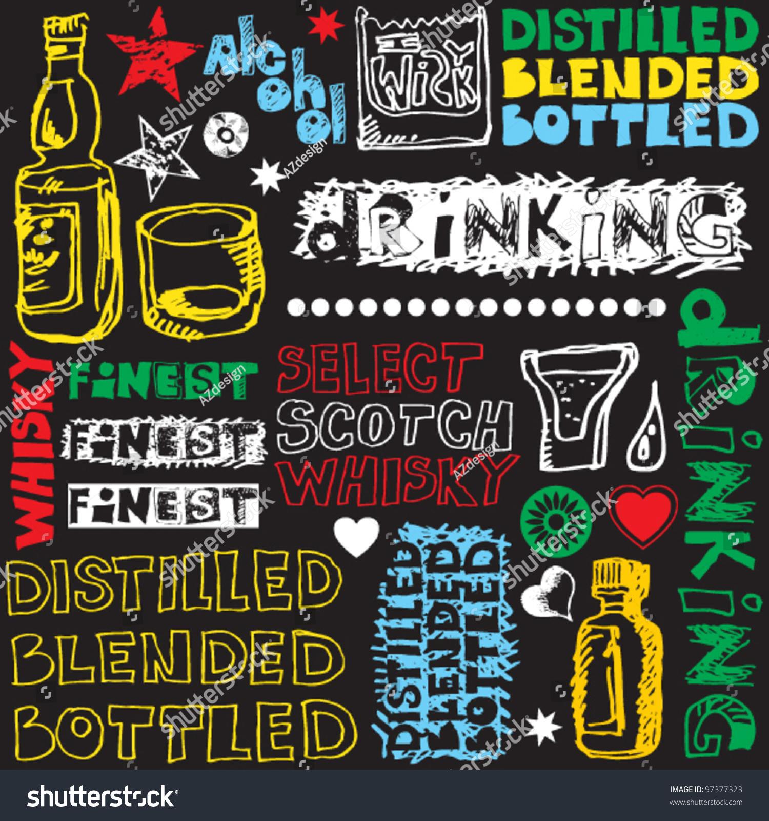 crazy scotch drinking doodles hand drawn design elements stock vector illustration 97377323