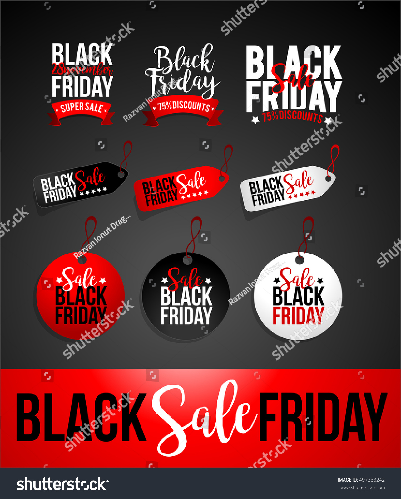 Black Friday Sale Creative Black Friday Sale Discount Banner Stok Vektör Telifsiz