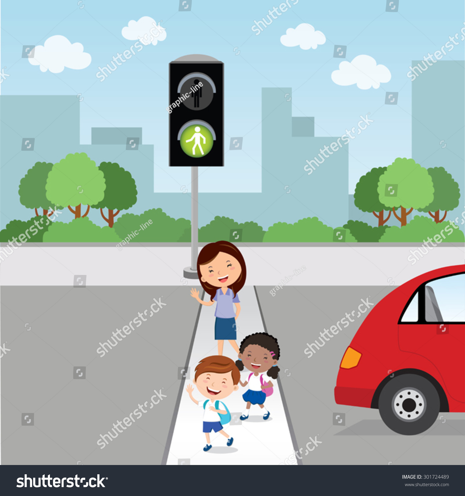 Road Crossing Clipart Crossing The Road Green Light Teacher And School Kids
