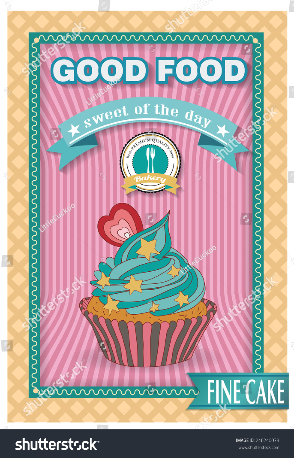 Poster Küche Retro Cupcake Poster Retro Vintage Design Use Stock Vector Royalty Free