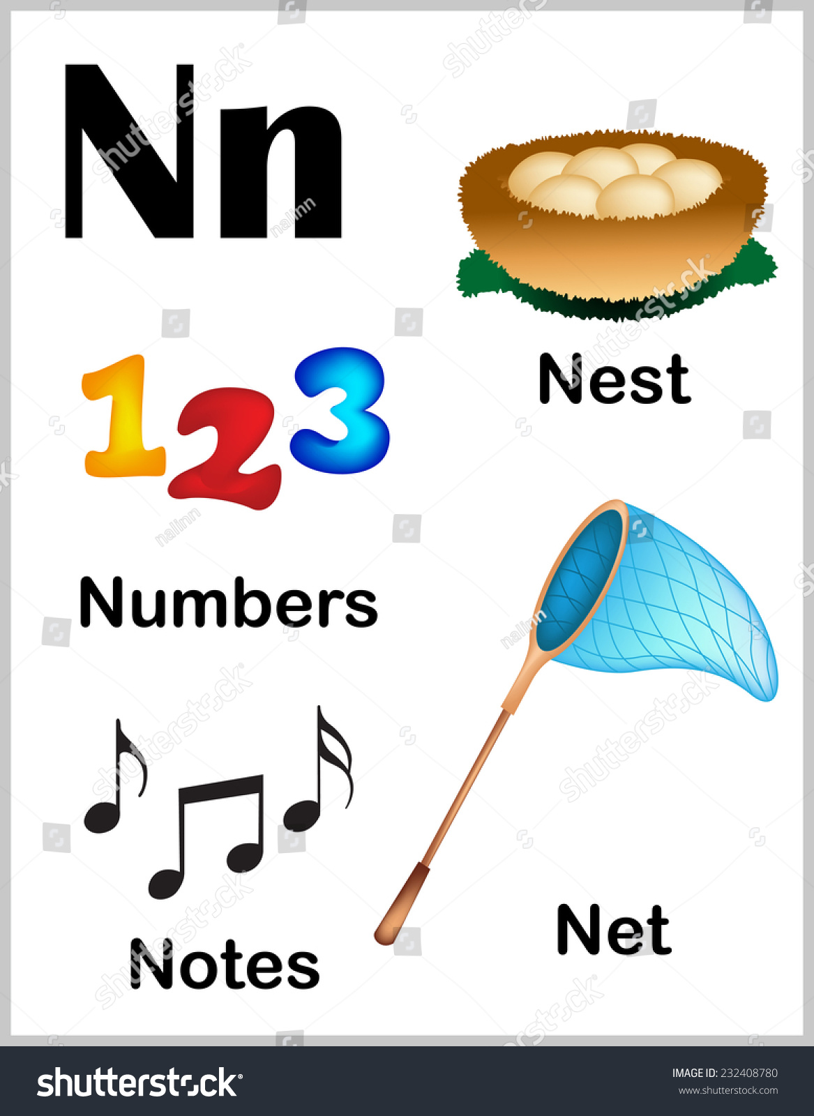 words with the letter n - letter n words for preschool