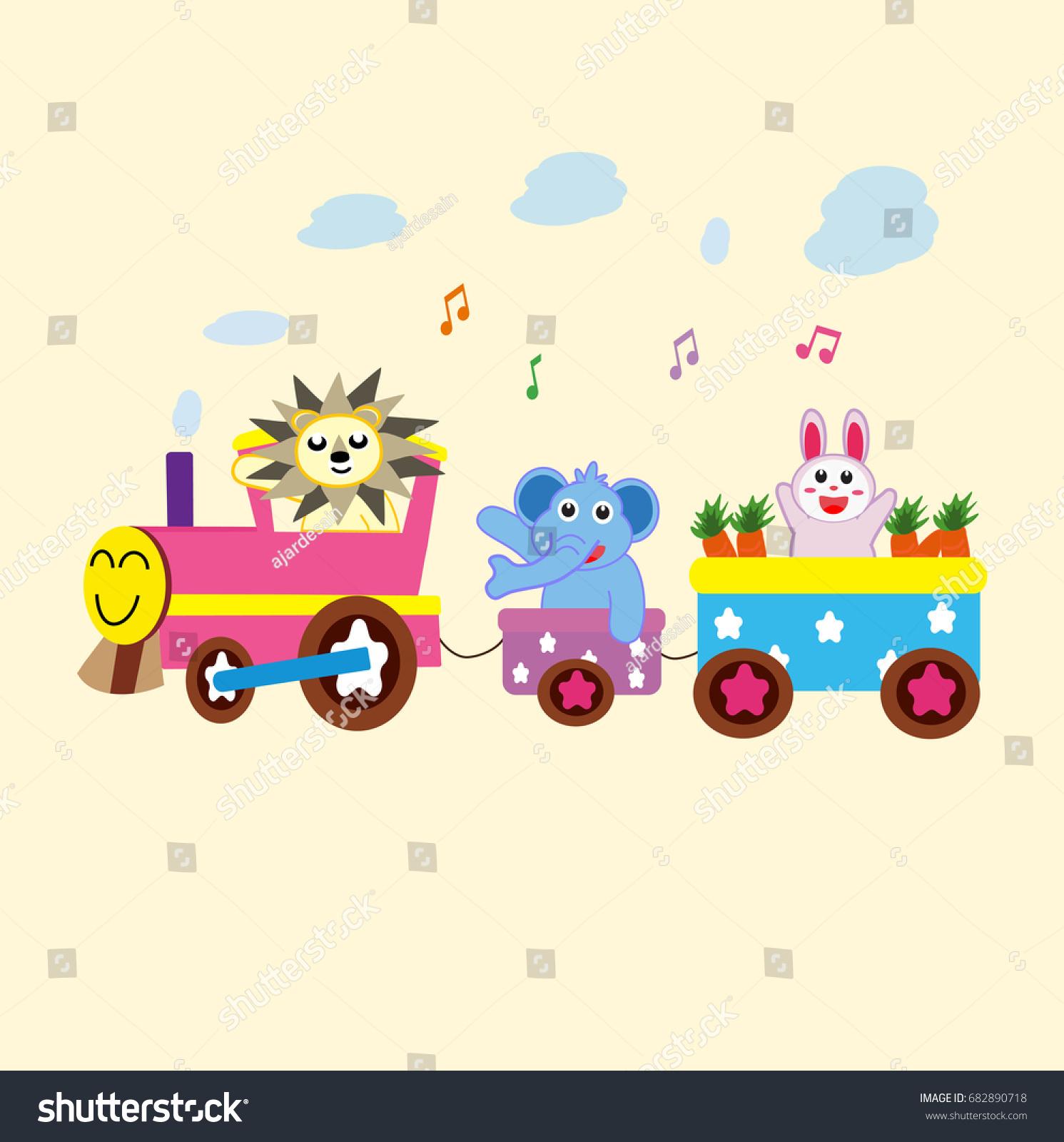 Cute Elephant Design Wallpaper Cute Animal Ride Train Vector Cartoon Stock Vector