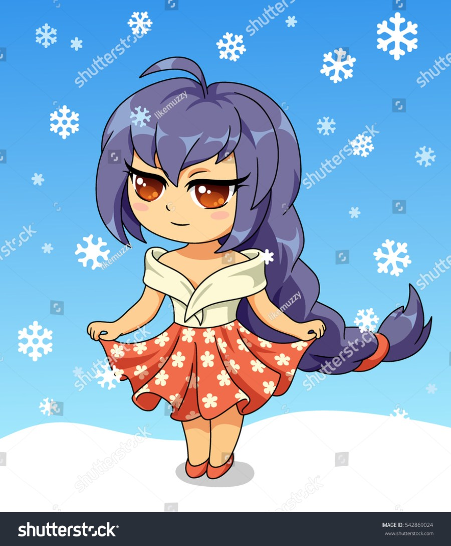 Cute anime chibi little girl. Merry Christmas and Happy New year card. Christmas card