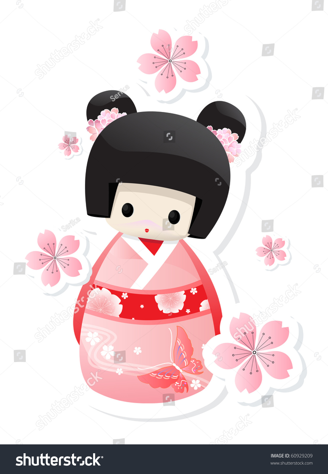 Tokyo Geisha Girl Wallpaper Background Cute Little Kokeshi Japanese Doll Stock Vector 60929209