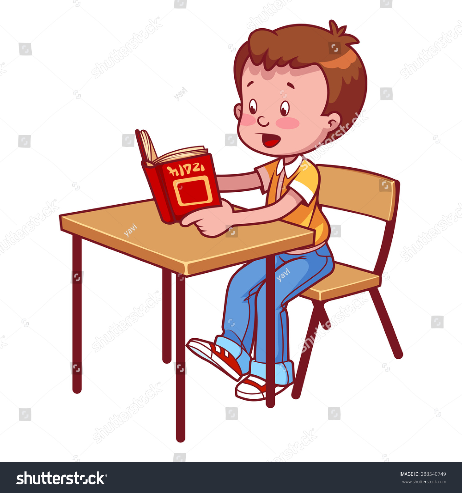 Cute Reading Chairs Cute Schoolboy Behind School Desk Reading Stock Vector