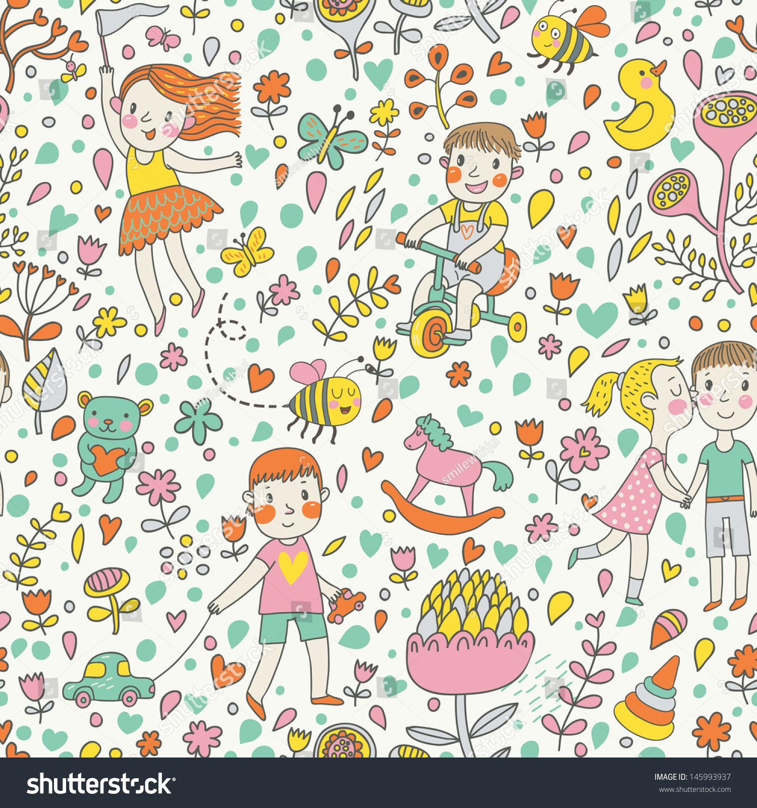 Cute Baby Girl Child Wallpaper Cute Seamless Pattern Children Garden Playing Stock Vector