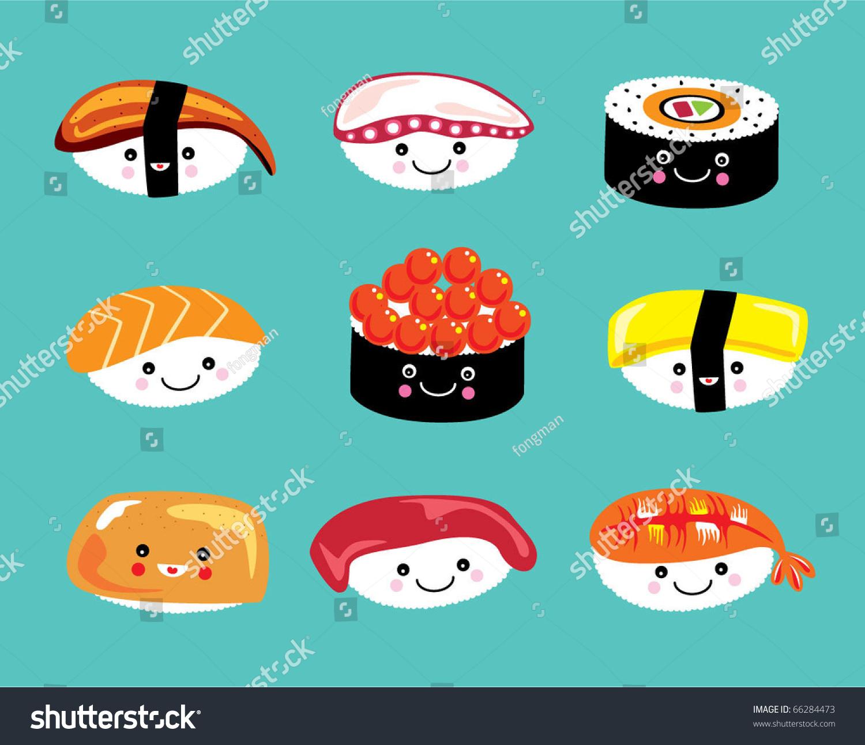 Cute Sushi Wallpaper Hd Cute Sushi Doodle Stock Vector 66284473 Shutterstock