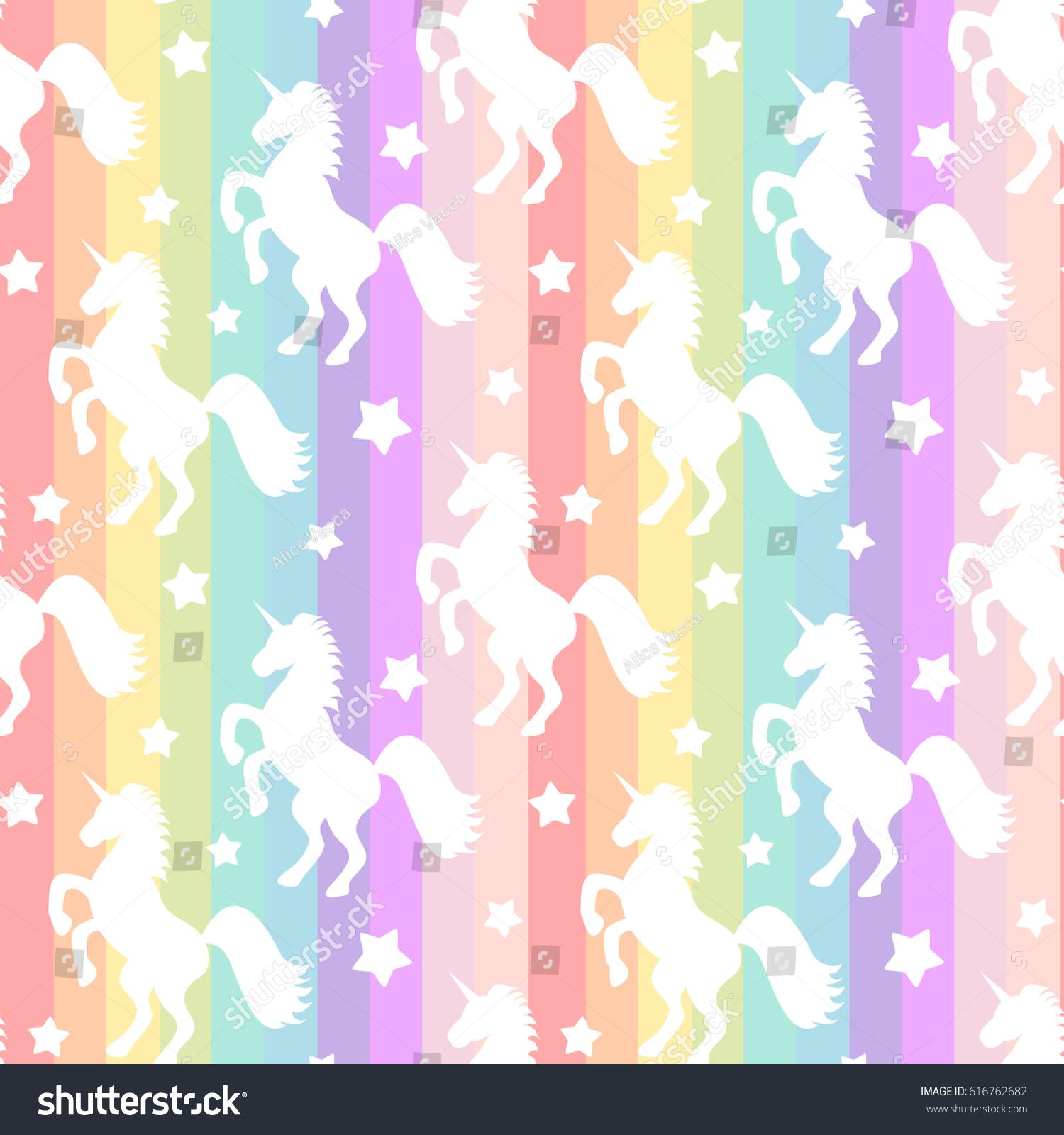 Cute Cartoon Fairy Wallpaper Cute White Unicorns Silhouette On Rainbow Stock Vector