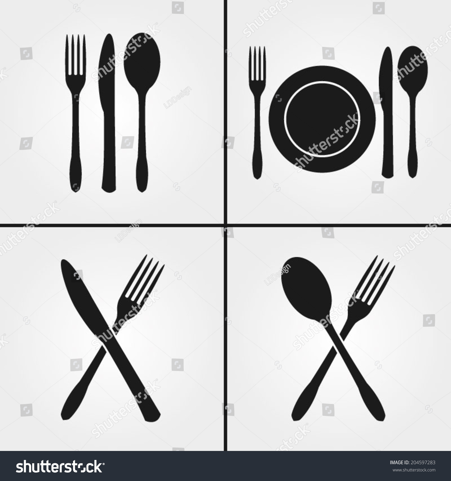 Posate Ristorante Cutlery Restaurant Icons Stock Vector 204597283 Shutterstock