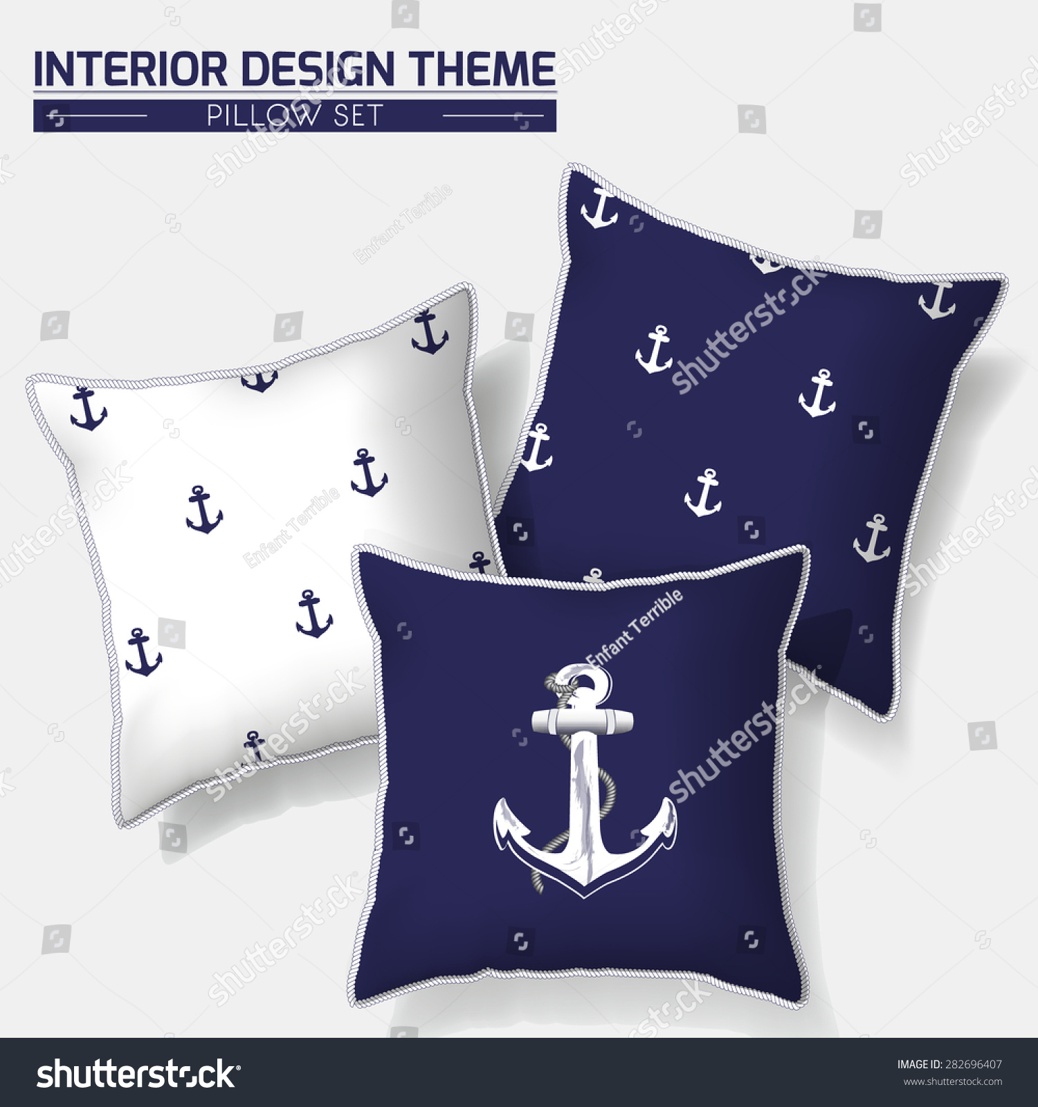 Nautical Sofa Throws Decorative Indigo White Nautical Throw Pillow Stock Vector