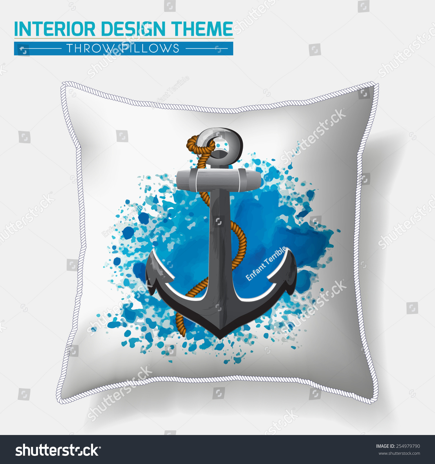 Nautical Sofa Throws Decorative Nautical Throw Pillow Design Anchor Stock Vector