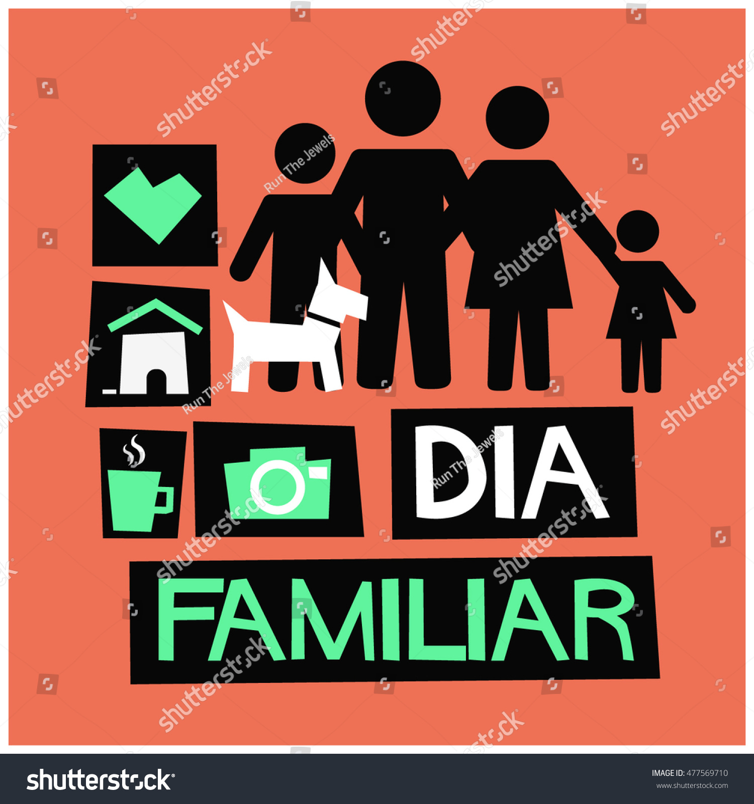 Poster In Spanish Dia Familiar Family Day Spanish Flat Stock Vector Royalty Free