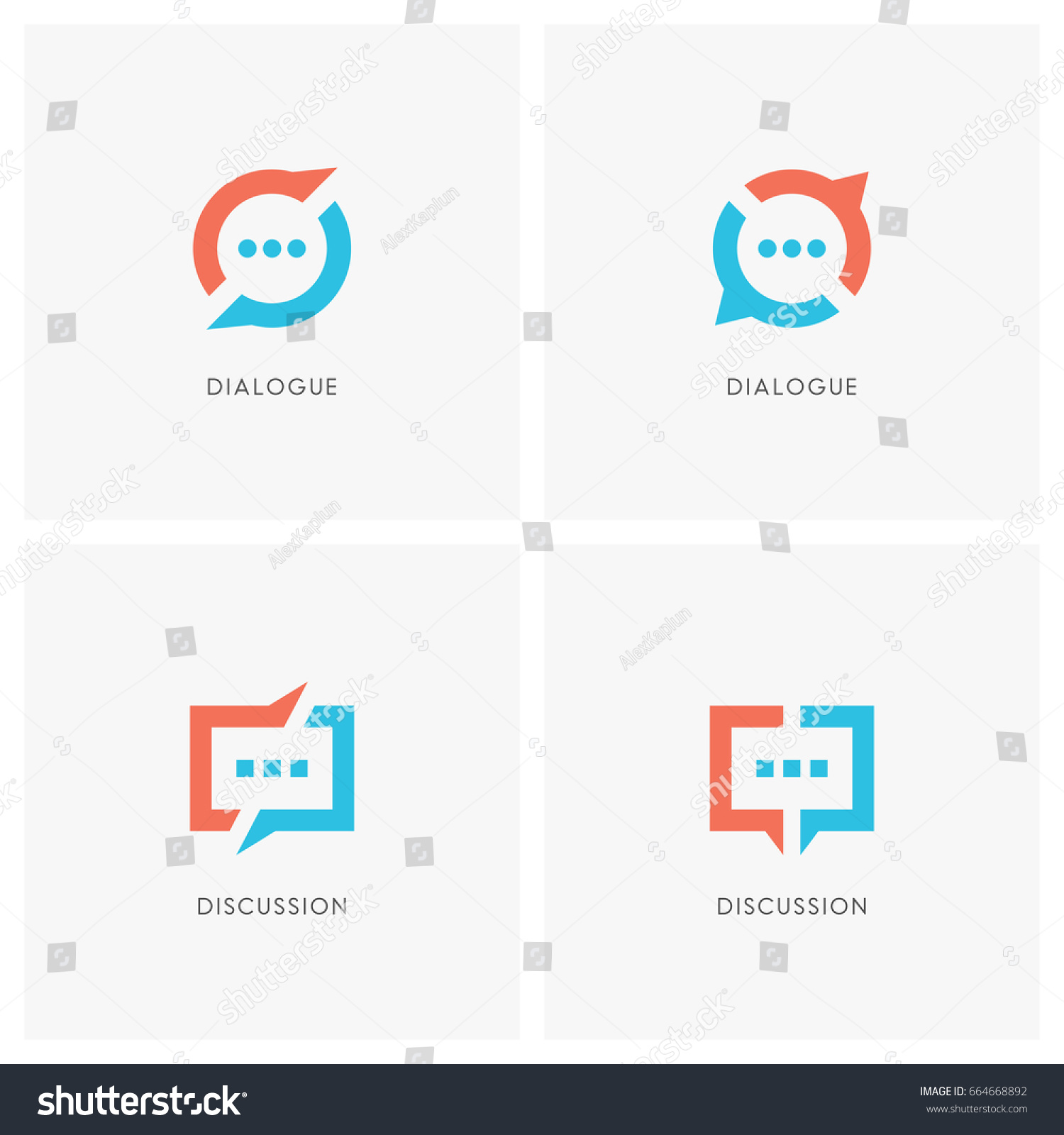 Gratis Juridisch Advies Chat Dialogue Discussion Logo Set Split Chat Stockvector Rechtenvrij