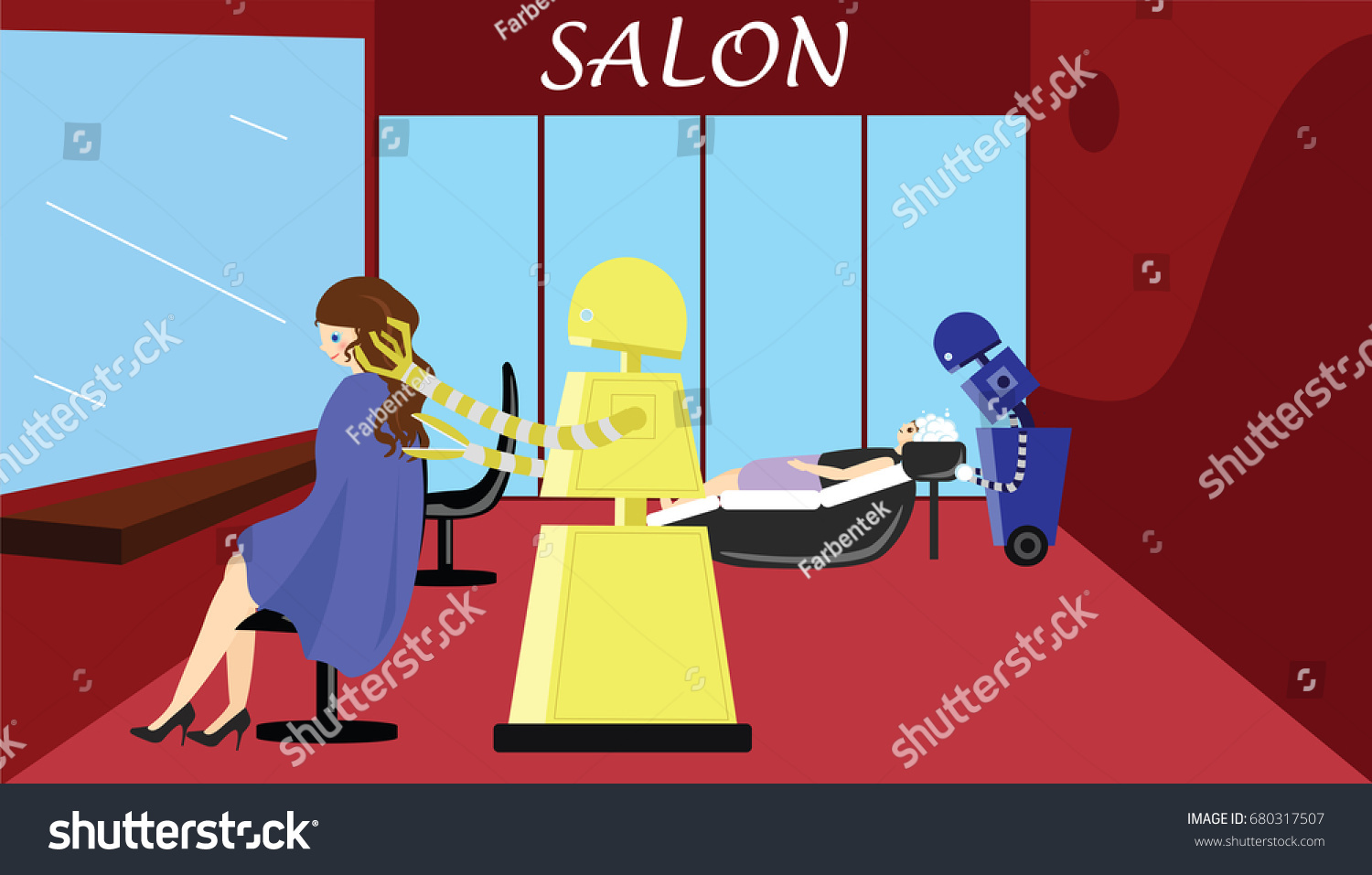 Salon De La Robotique Domestic Robot Hairdresser Beauty Salon Robot Stock Vector