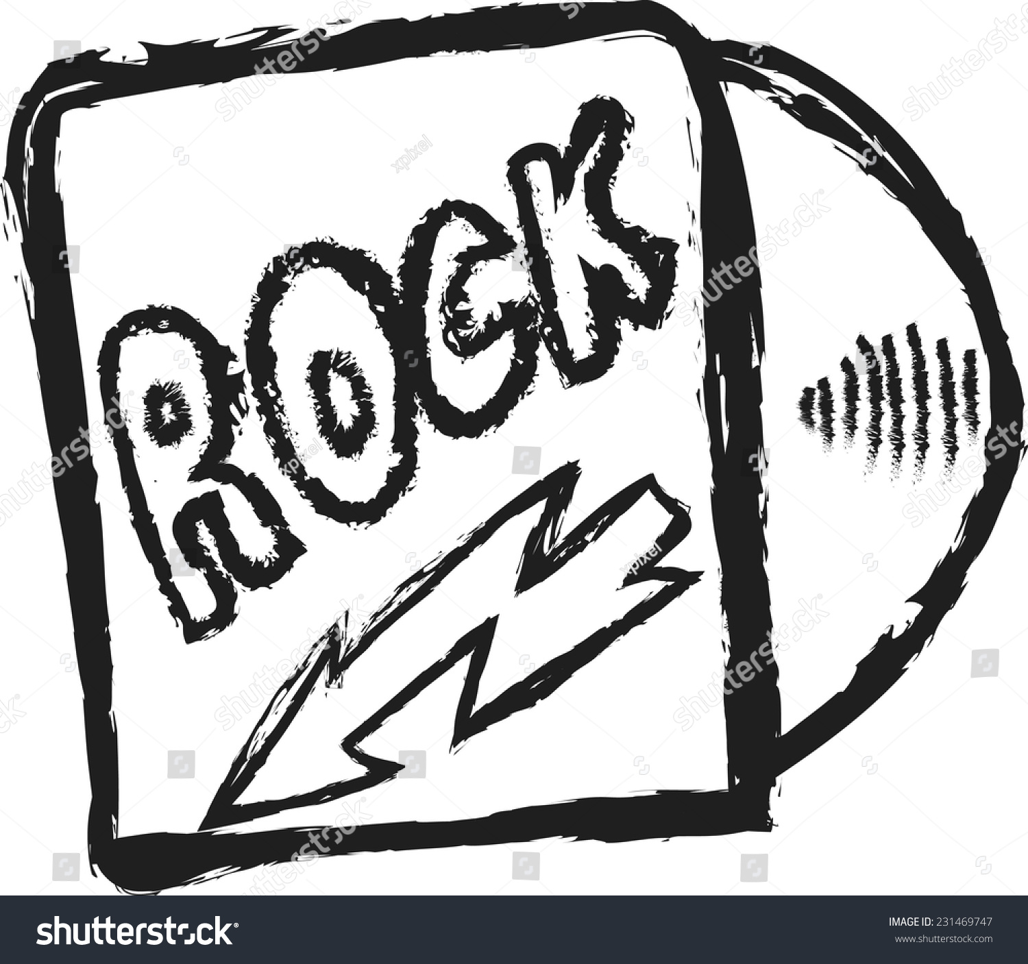 Rock Music Cover Doodle Rock Music Cd Cover Vector Stock Vector Royalty Free