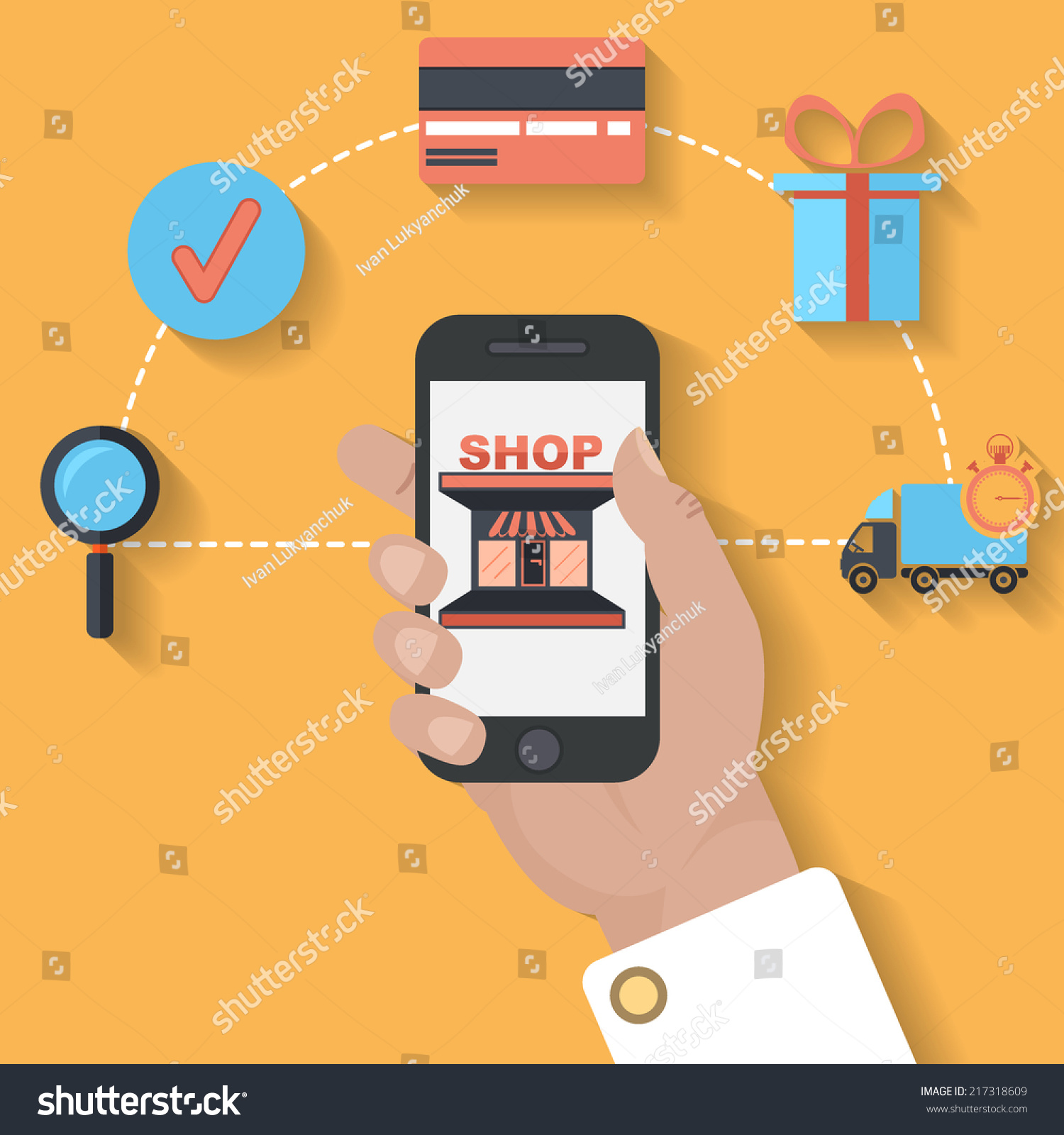 E Commerce Mobili Ecommerce Mobile Payment Concept Flat Design Stock Vector