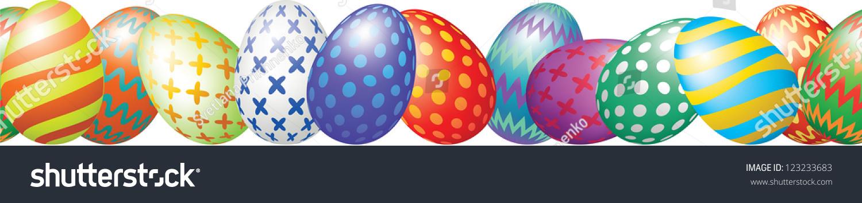 Easter Eggs Border Stock Vector (Royalty Free) 123233683 - Shutterstock