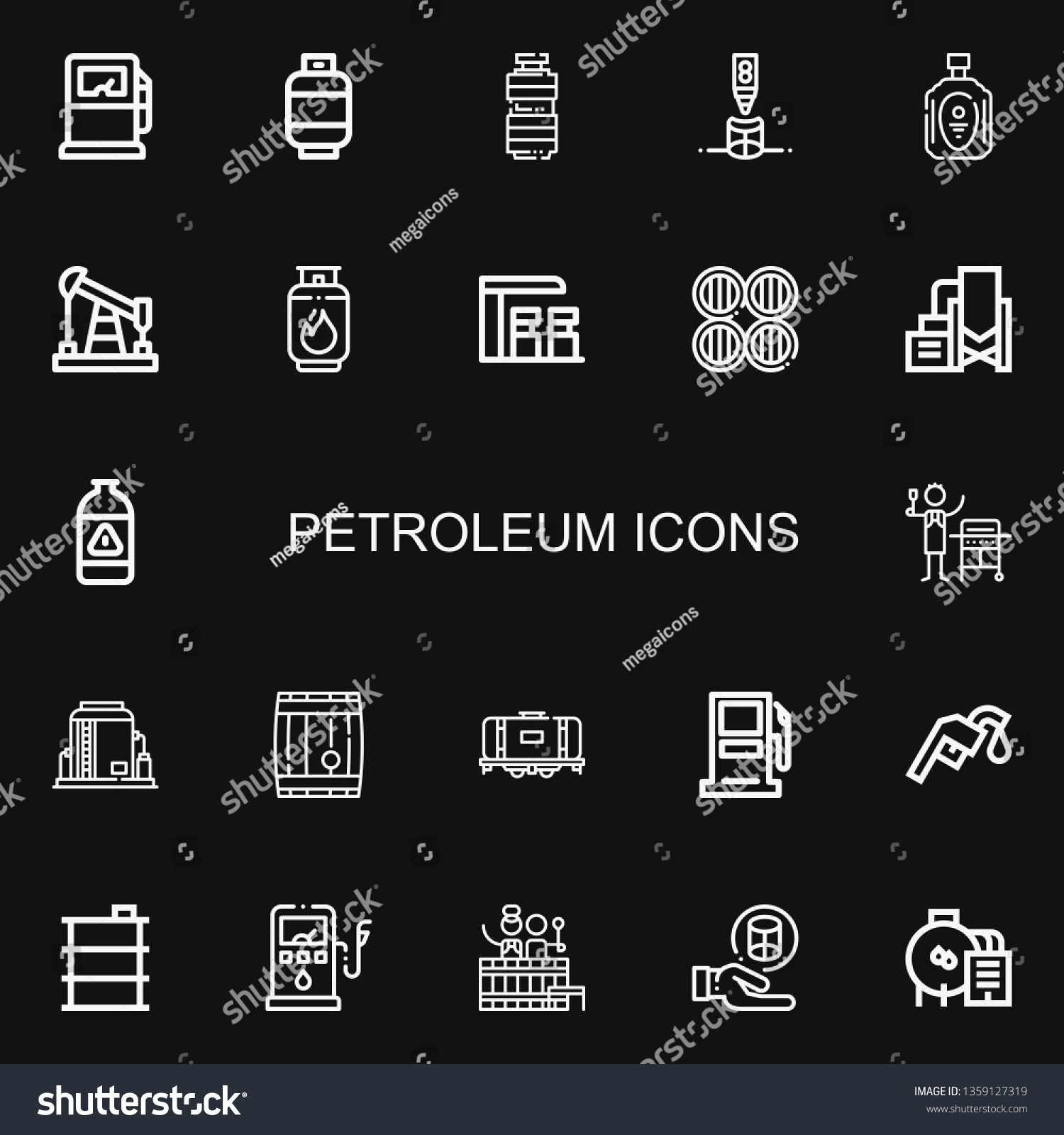 Jalousie Petrol Editable 22 Petroleum Icons Web Mobile Stock Vector Royalty