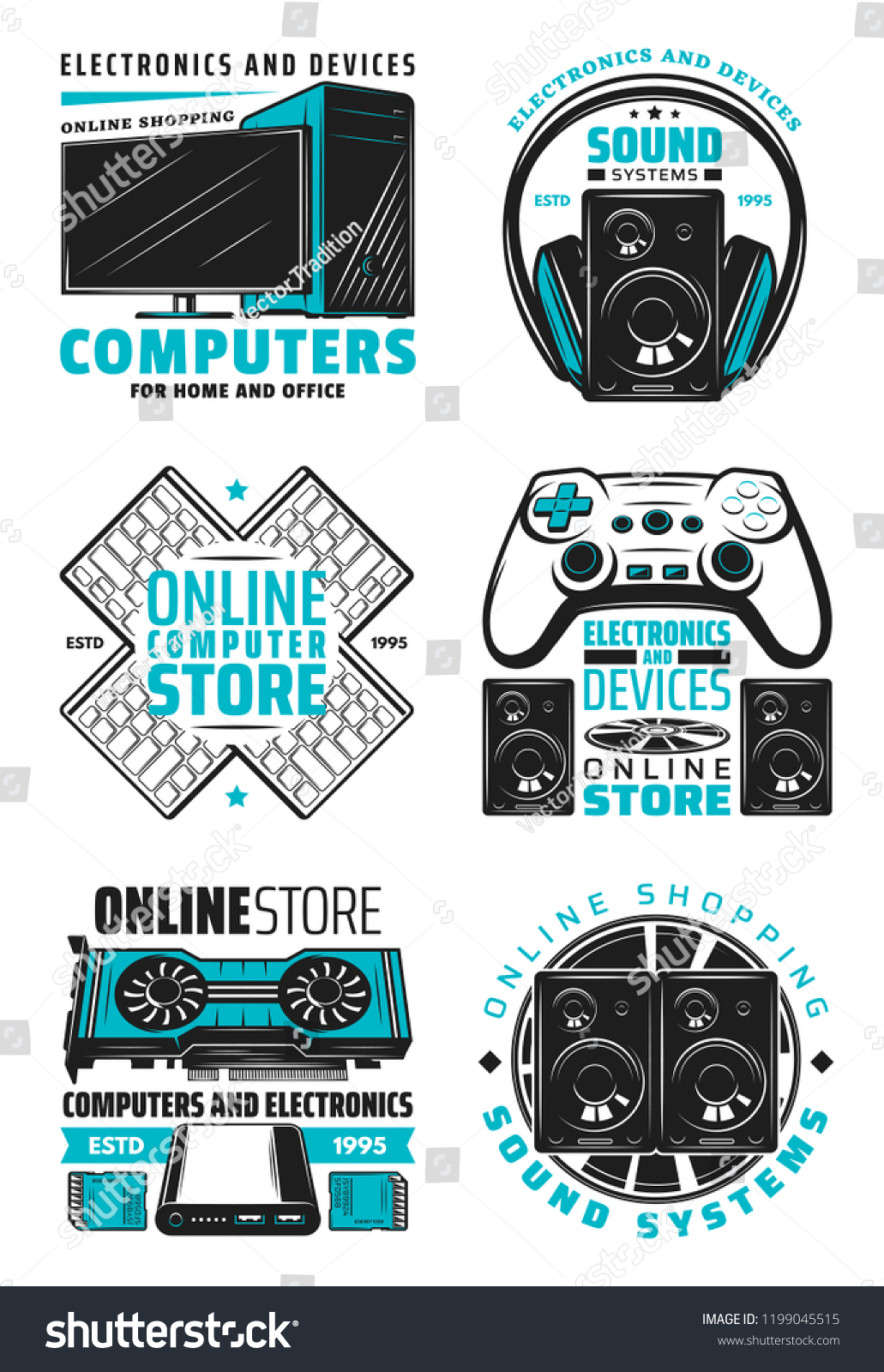 Computer Online Store Electronic Devices Computer Online Store Icons Stock Vector