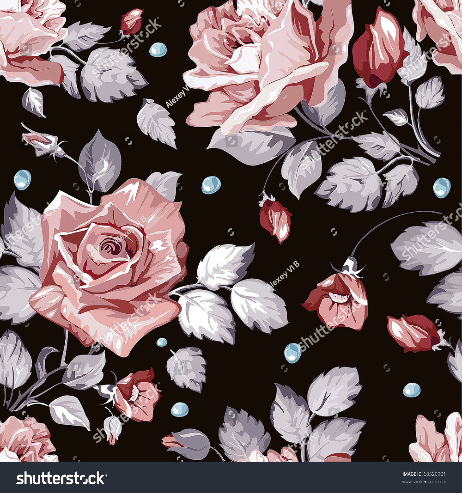 Cute Rain Drop Wallpaper No Watermark Elegance Seamless Wallpaper Pattern Pink Roses Stock