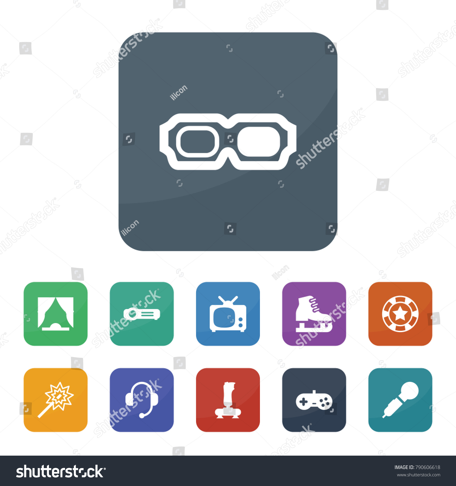 Tv Wand Glas Entertainment Icons Vector Collection Filled Entertainment Stock