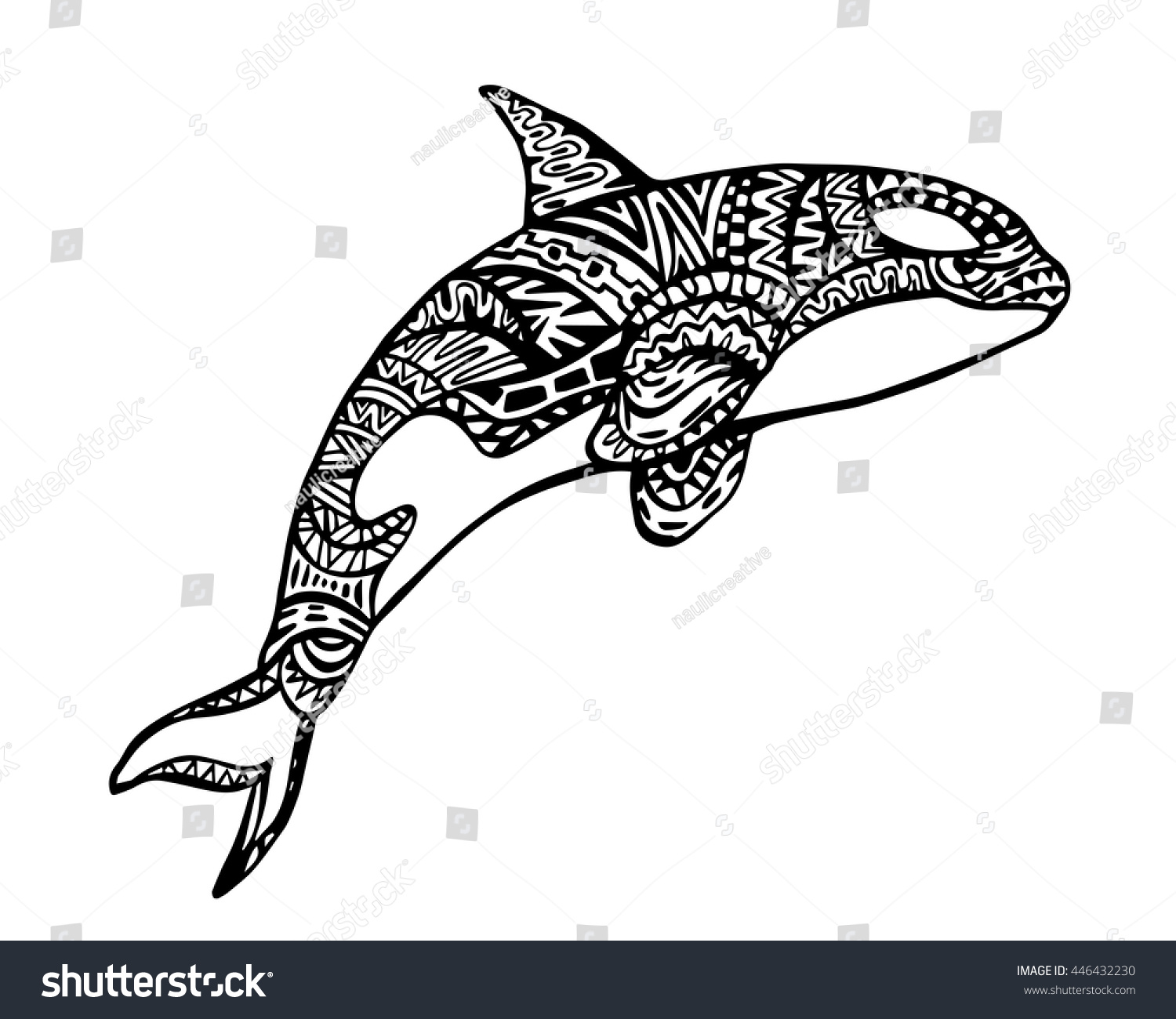 Ethnic animal doodle detail pattern killer whale zentangle illustration