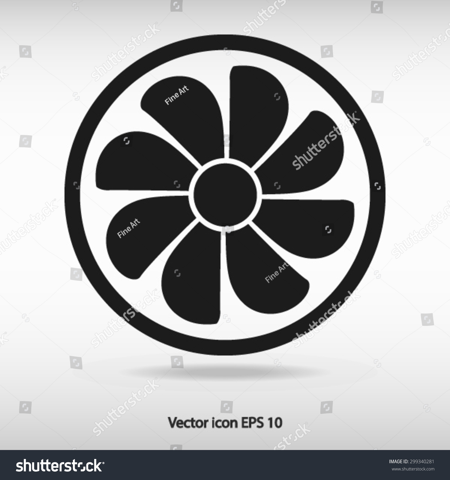 Symbool Ventilator Exhaust Fan Icon Ventilator Symbol Stock Vector 299340281