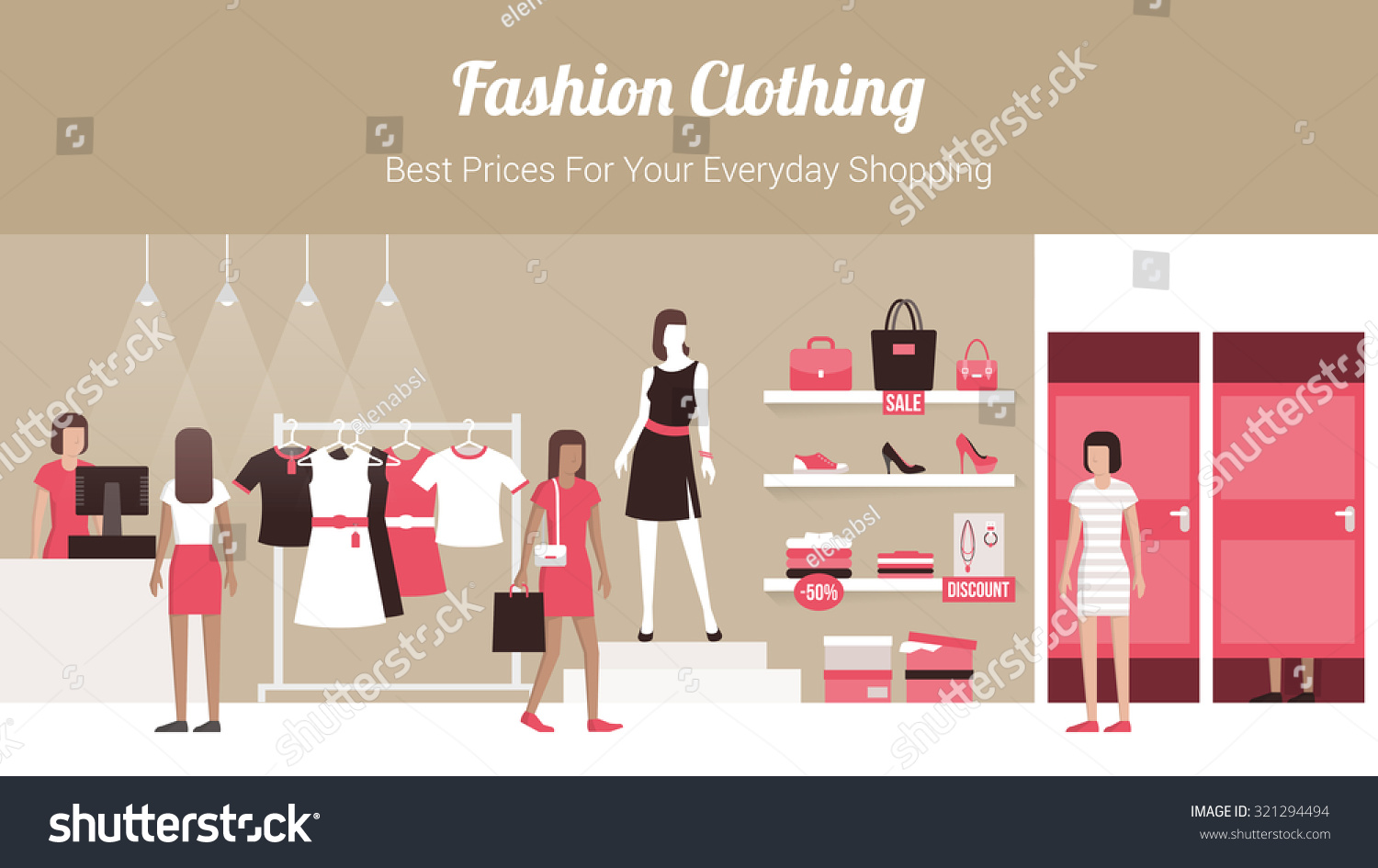 Store Banne Boutique Fashion Clothing Store Banner Shop Interior Stock Vector