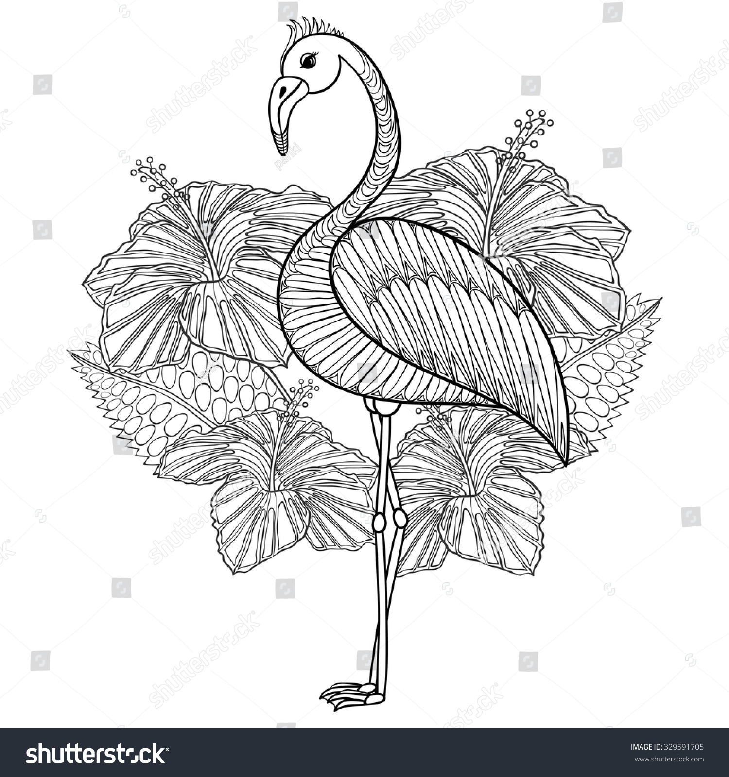 Flamingo in hibiskus coloring page zentangle illustartion for adult coloring books or tattoos with high