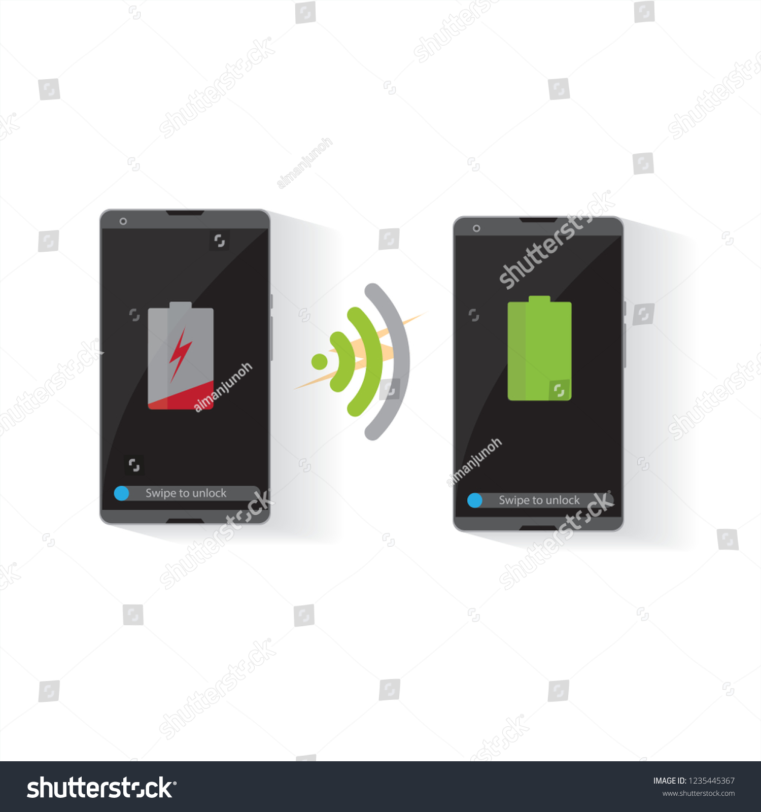 Wireless Battery Charger Flat Design Wireless Battery Charger Smartphone Stock Vector