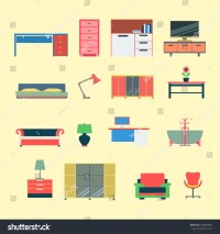 Flat Style Modern Creative Furniture Web Stock Vector ...