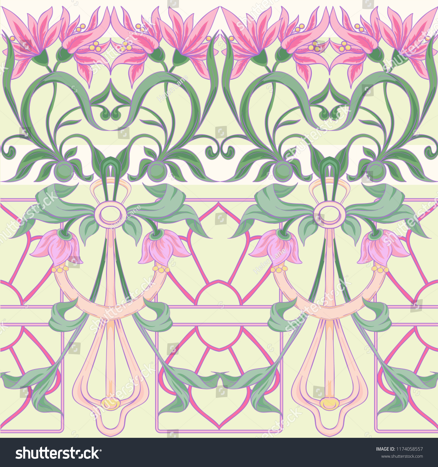 Art Nouveau Yellow Floral Seamless Pattern Background Art Nouveau Stock Vector